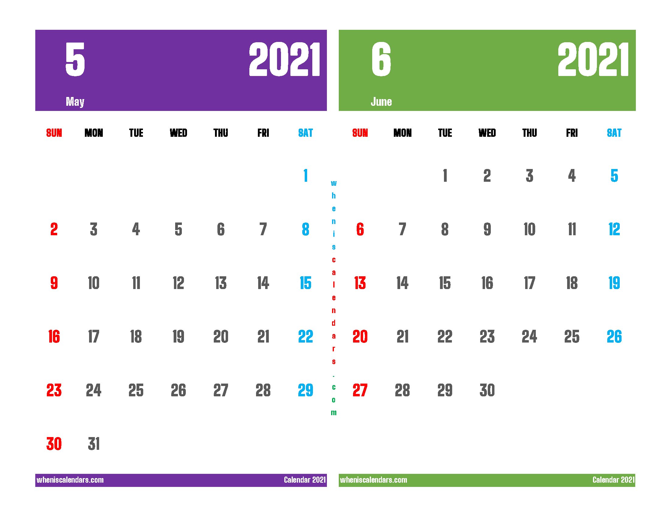 Free May and June 2021 Printable Calendar