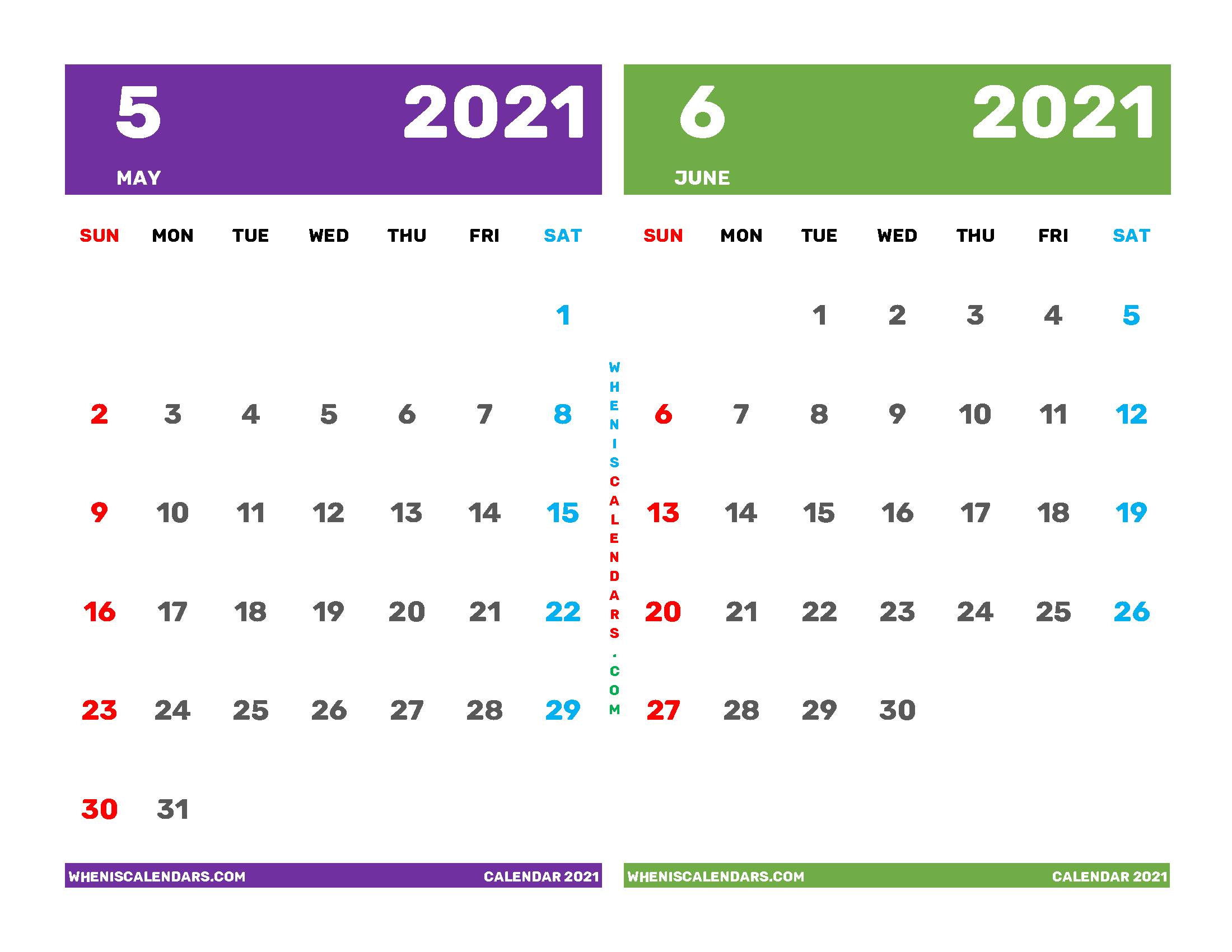 May and June 2021 Calendar Printable Free