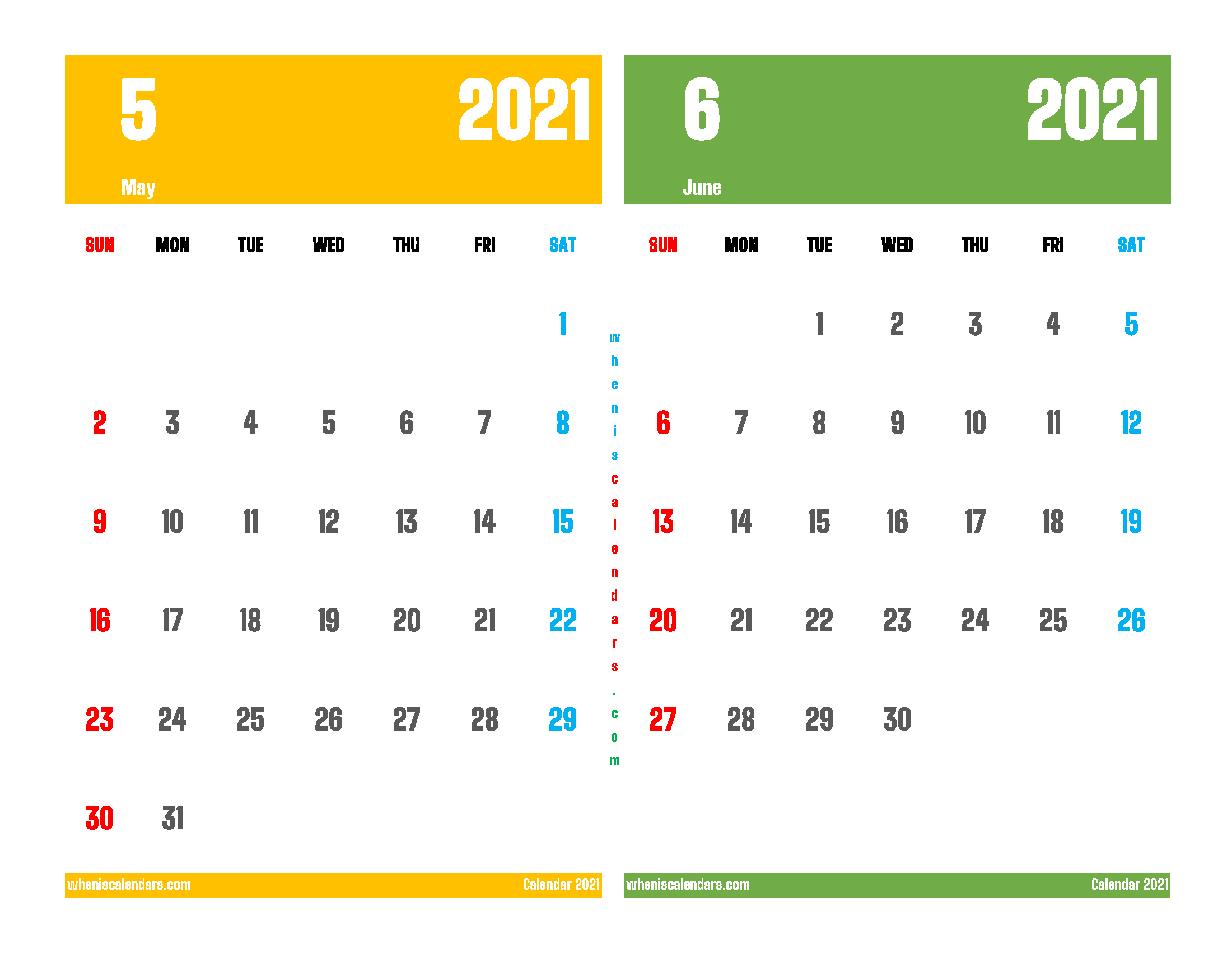 May and June 2021 Calendar Printable Free
