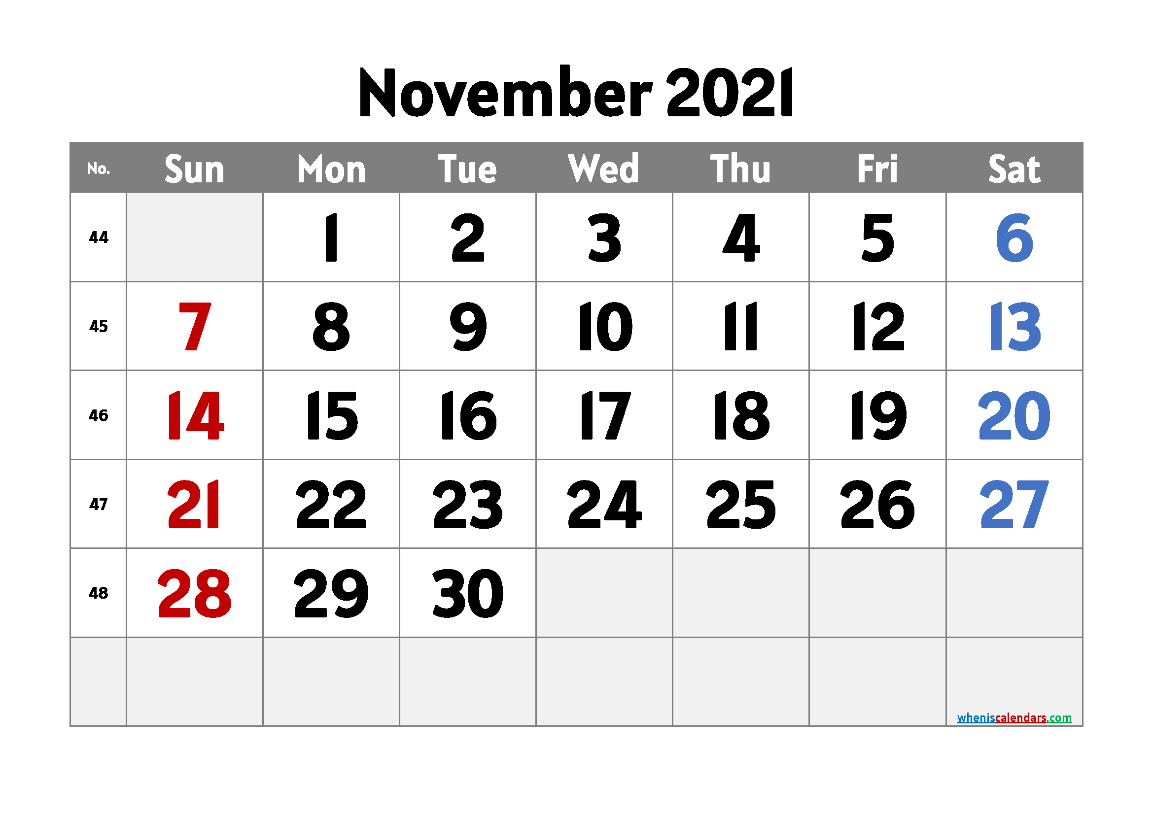 free printable november 2021 calendar with week numbers