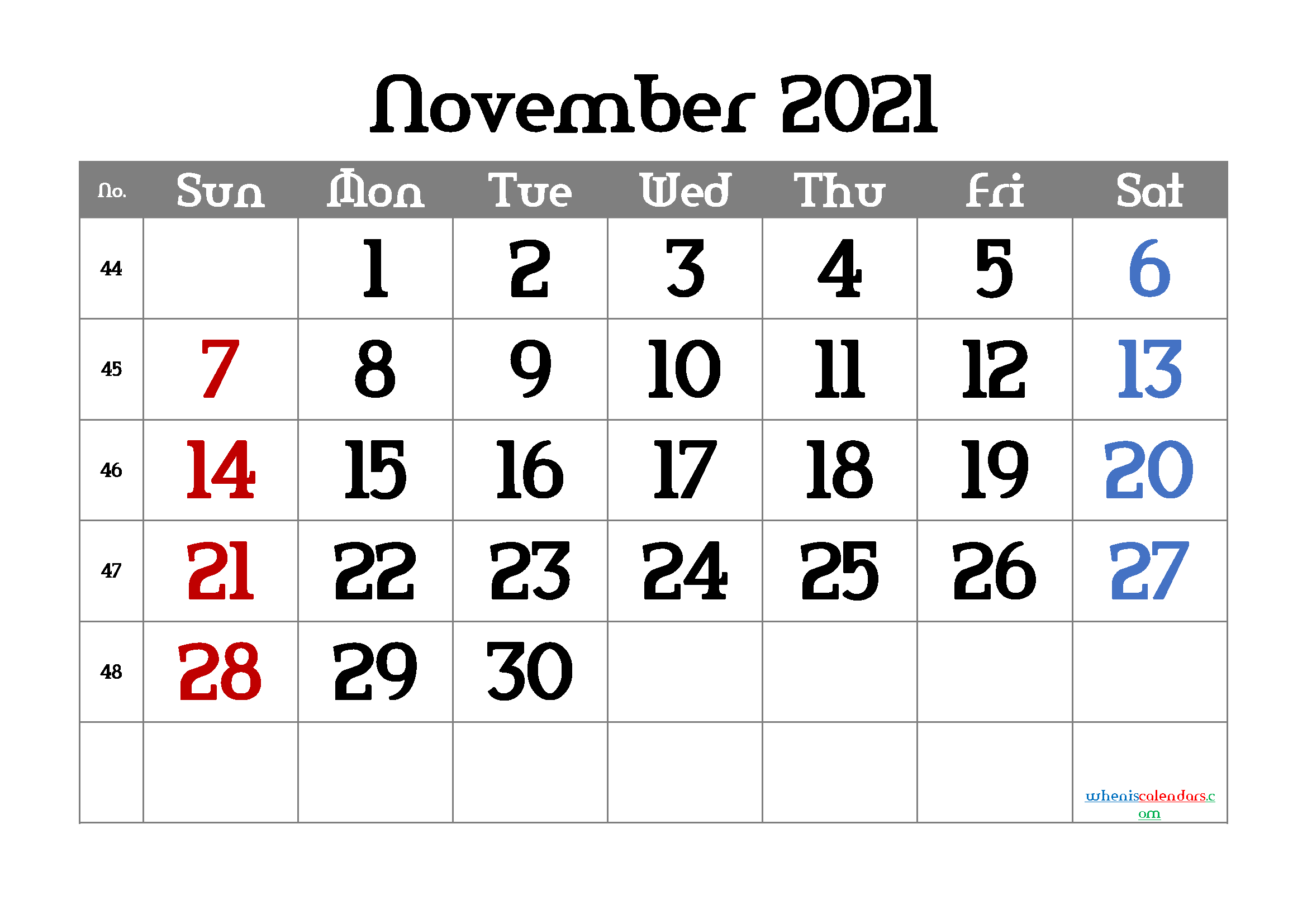 free printable november 2021 calendar with week numbers
