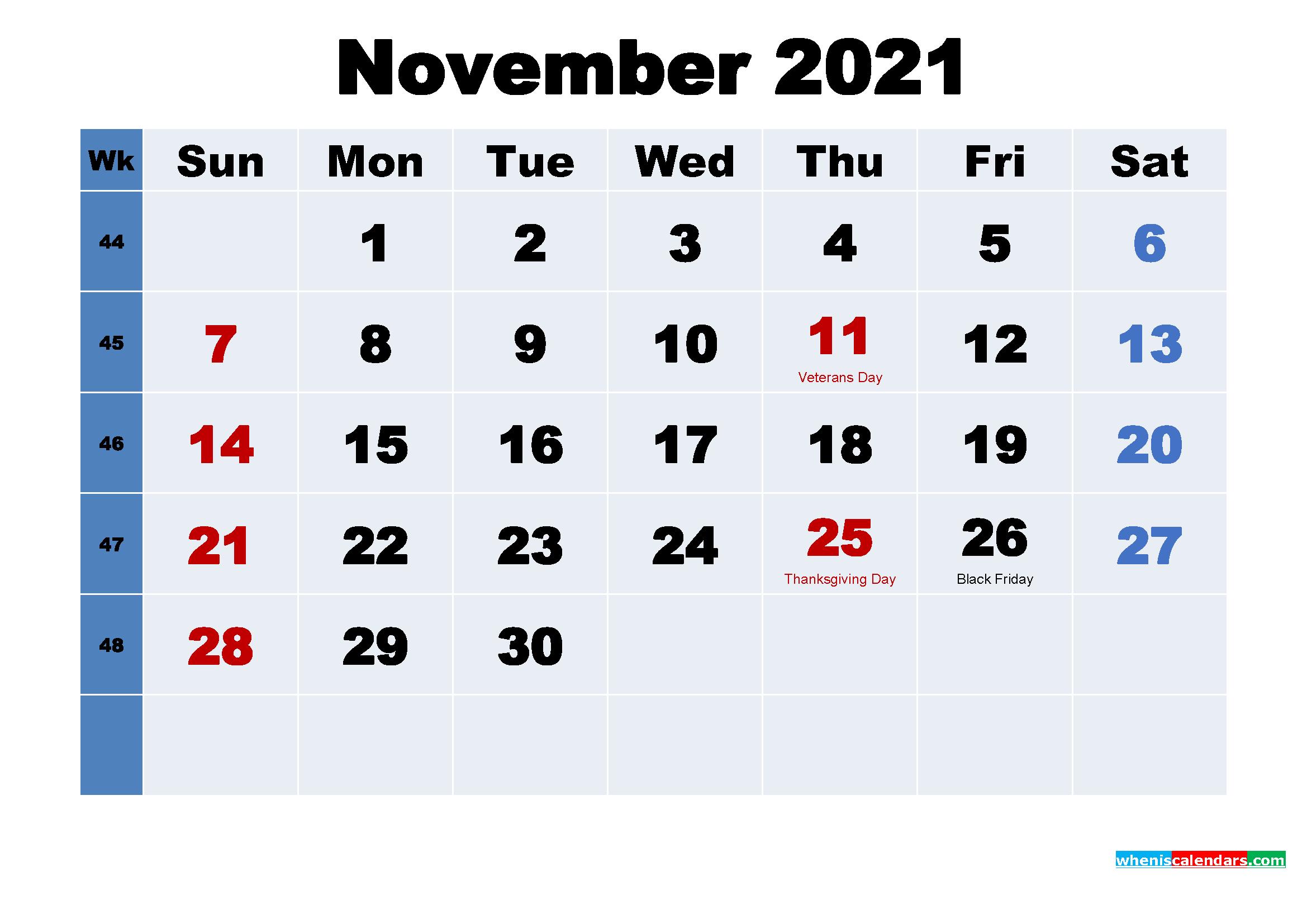 free printable november 2021 calendar with holidays