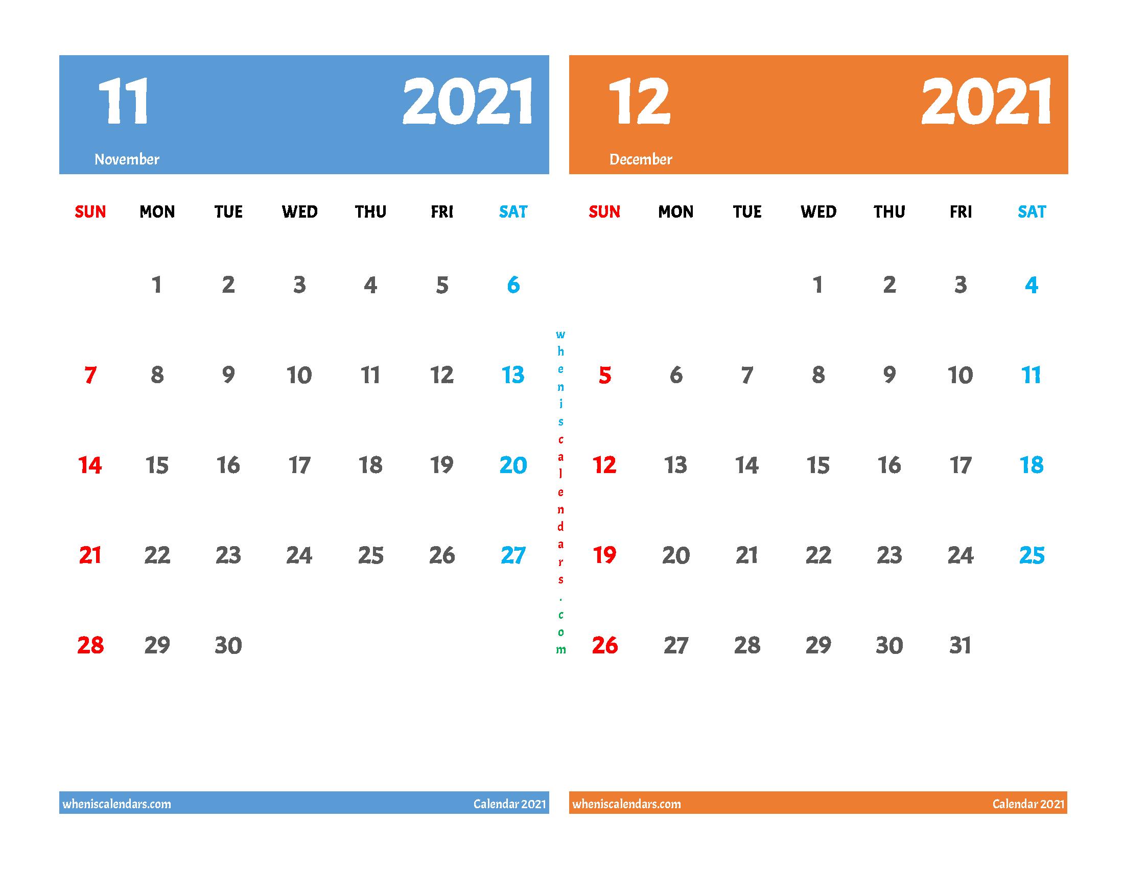 Printable Calendar 2021 November and December