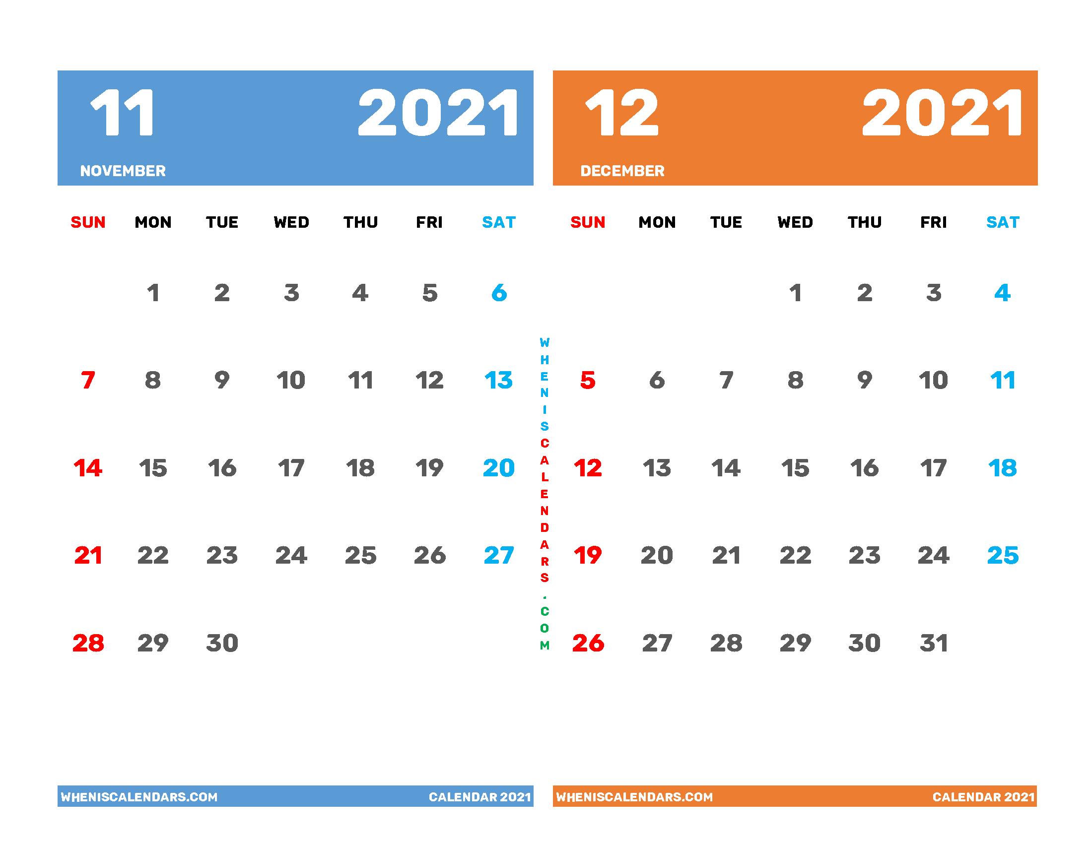 Printable Calendar November and December 2021
