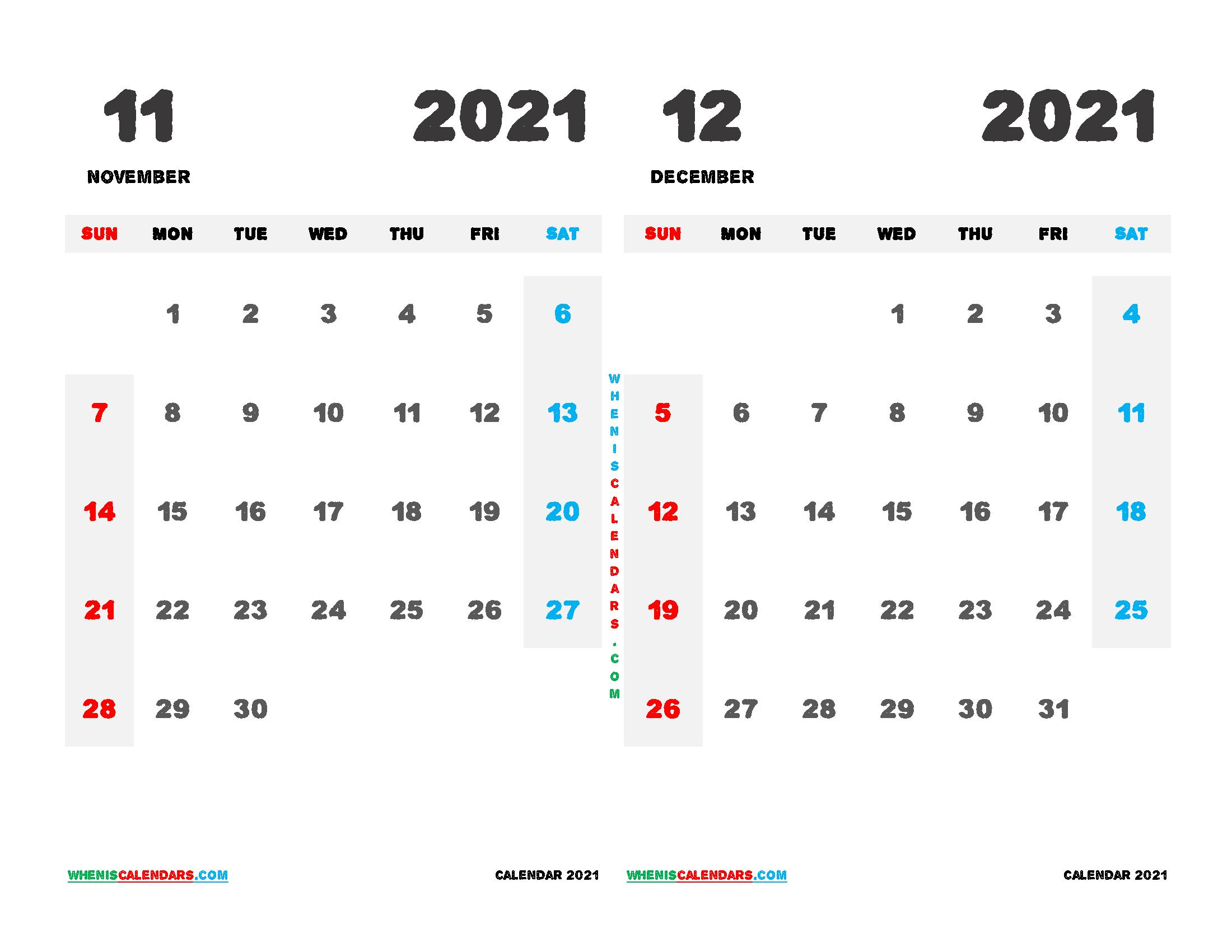 Printable Calendar November December 2021