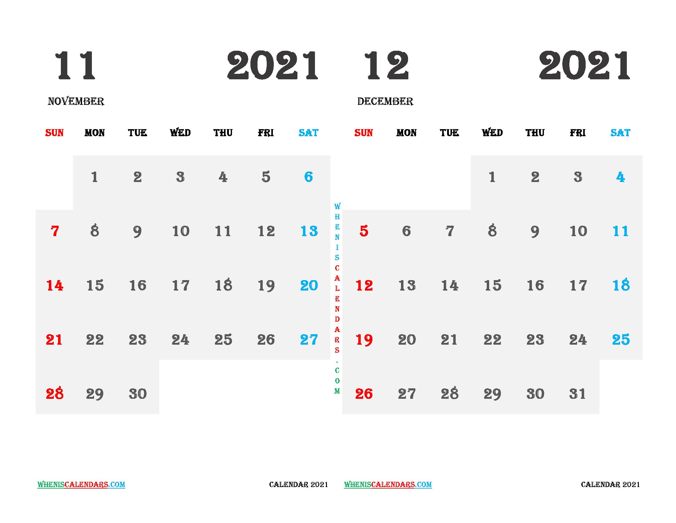 Printable November December 2021 Calendar