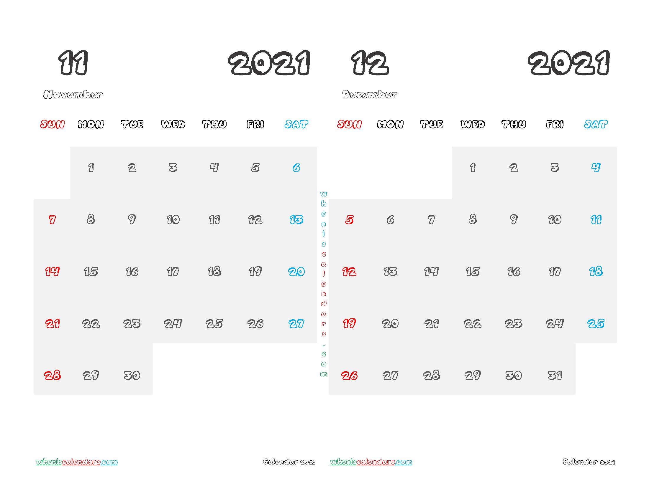 November and December 2021 Calendar Printable