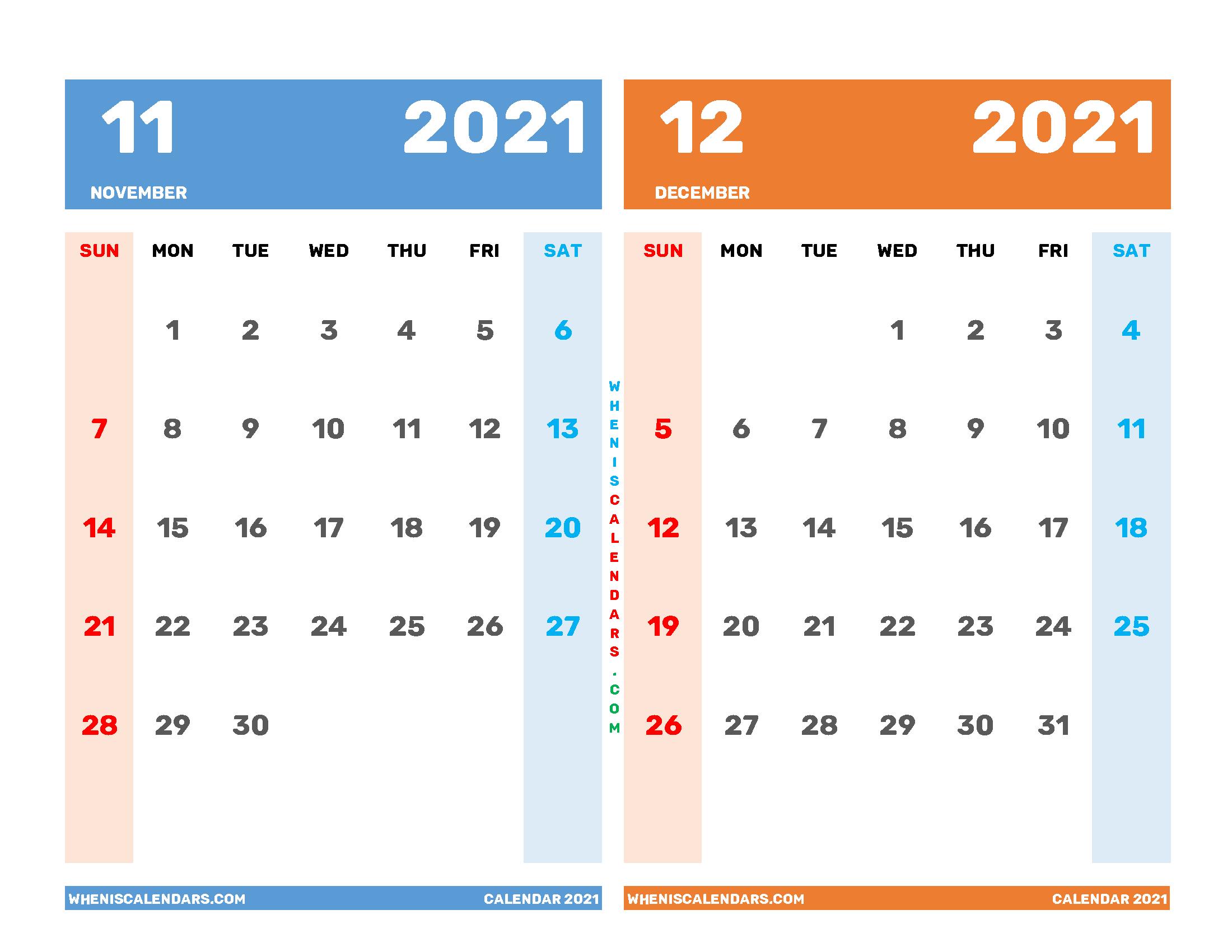 November and December 2021 Calendar Printable Free