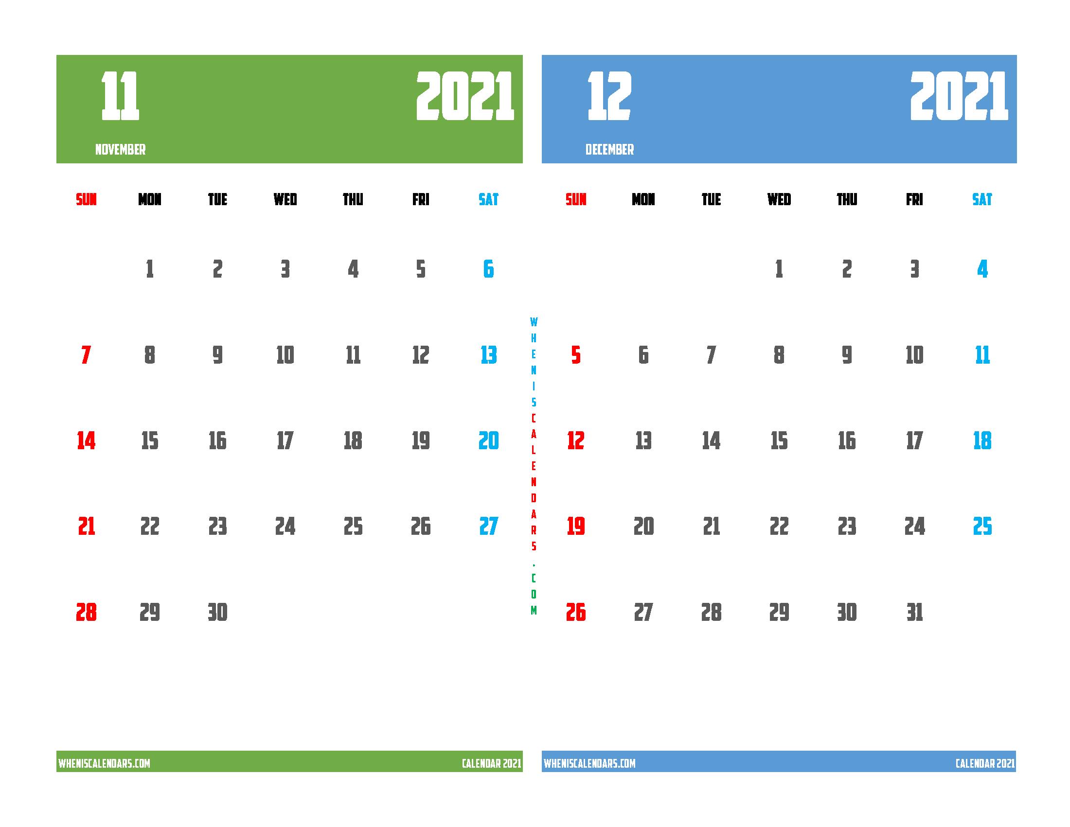 November December 2021 Calendar Printable Free