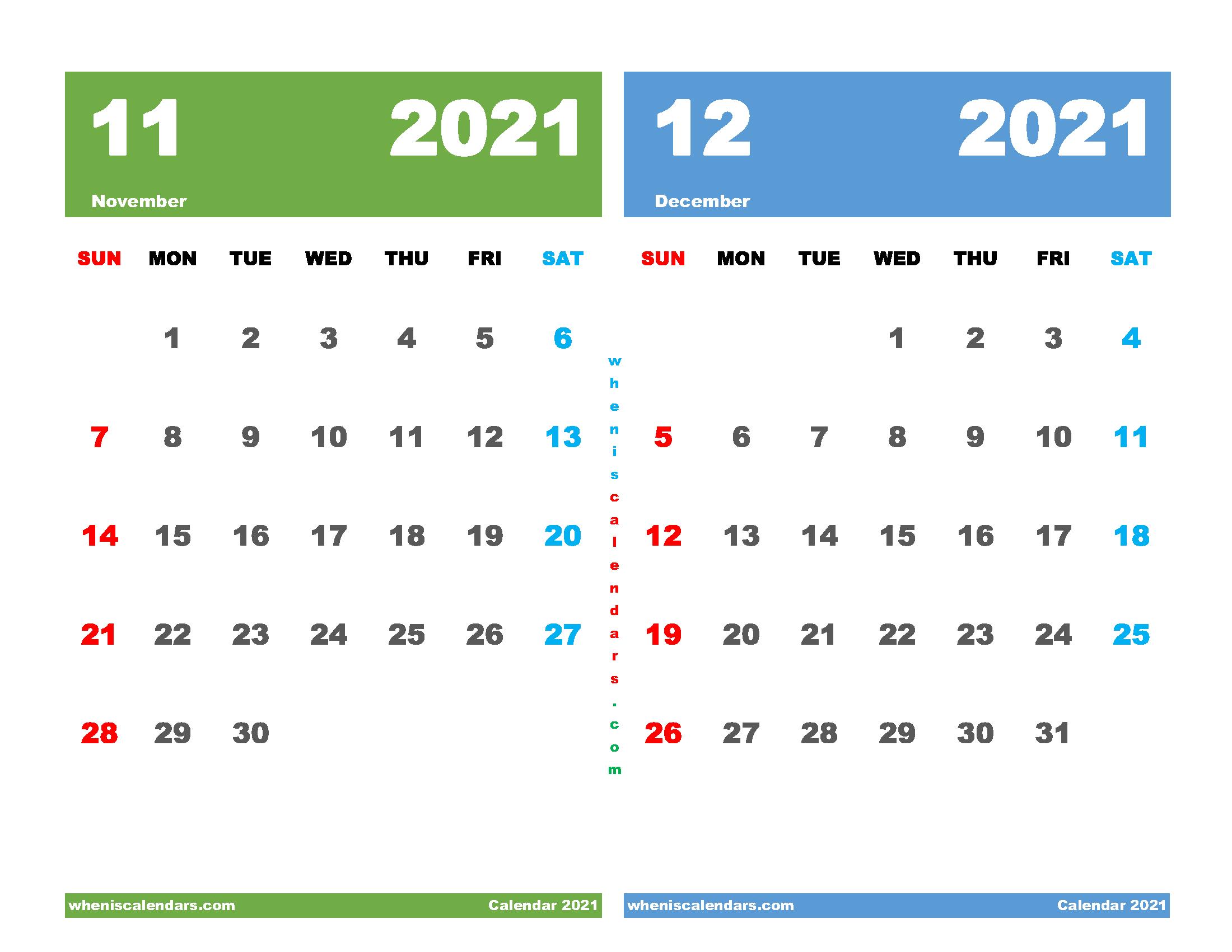 Printable November and December 2021 Calendar