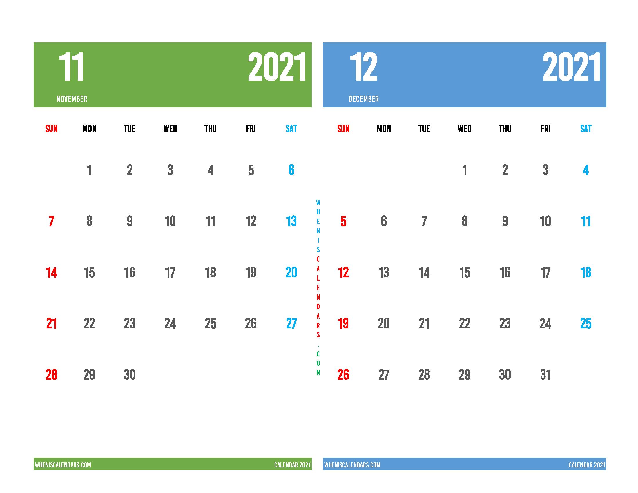 Free November and December 2021 Calendar Printable