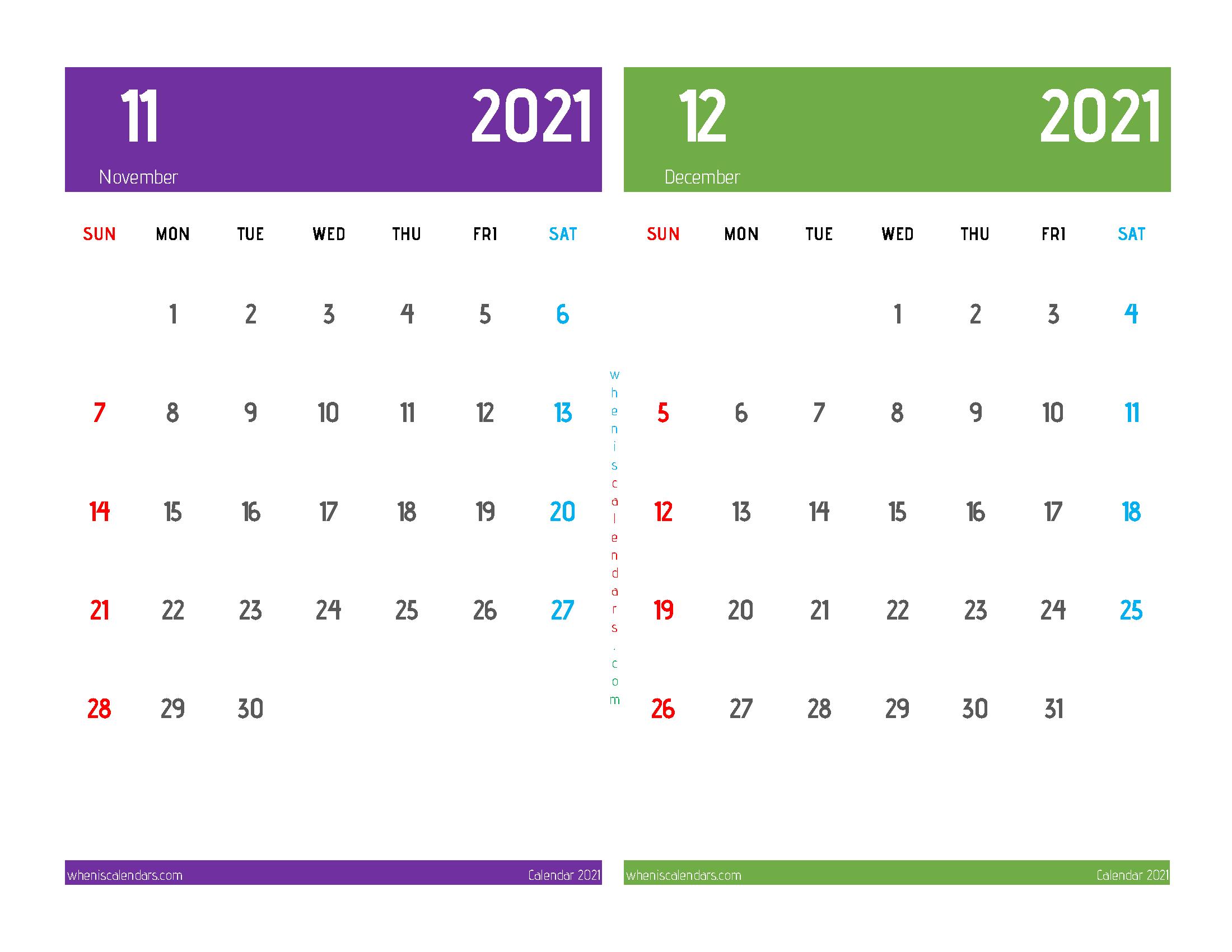 Printable Calendar 2021 November December