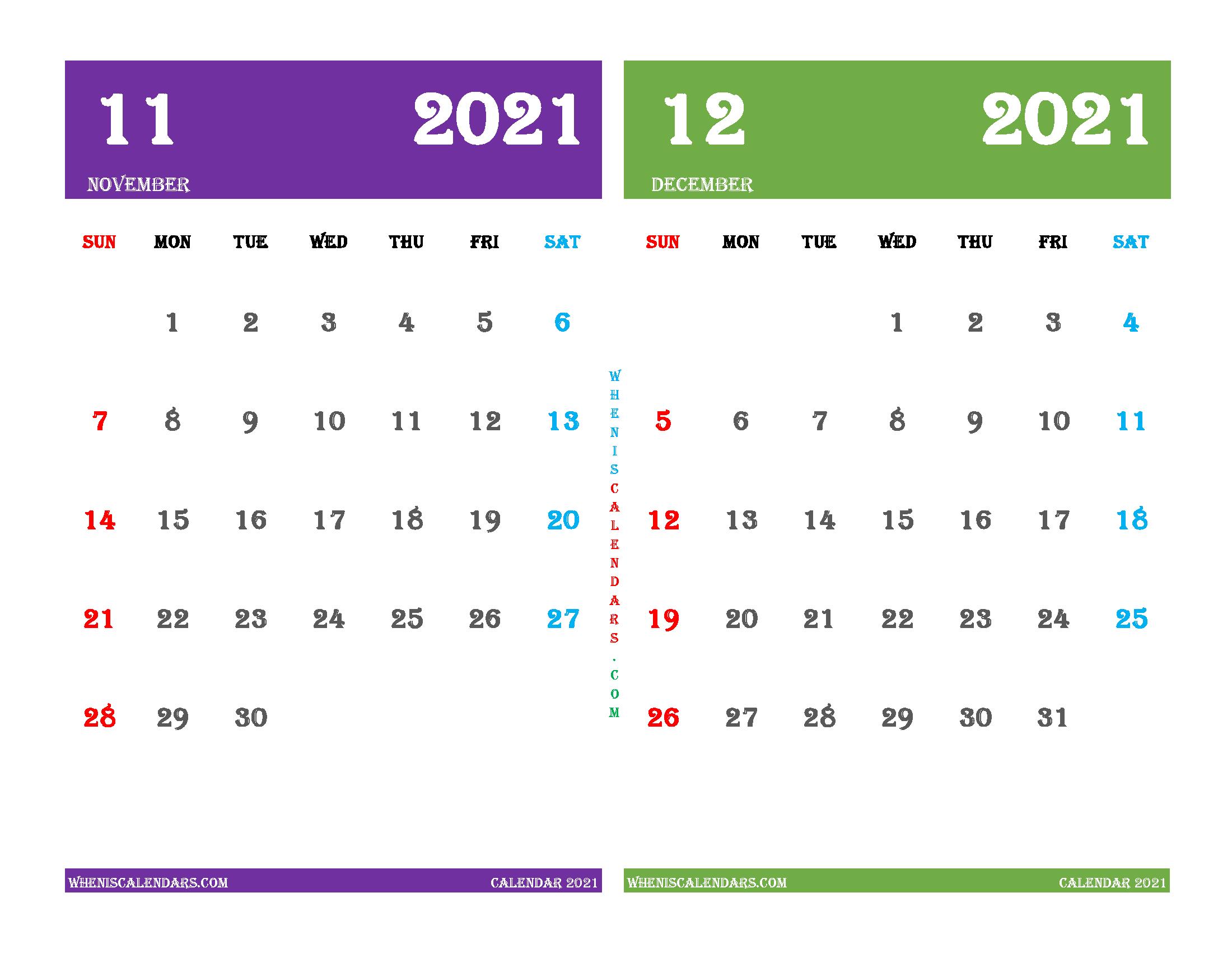 Free November December 2021 Calendar Printable
