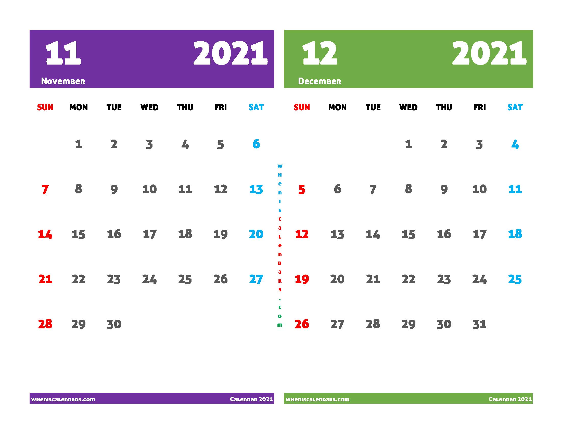 Free November December 2021 Printable Calendar