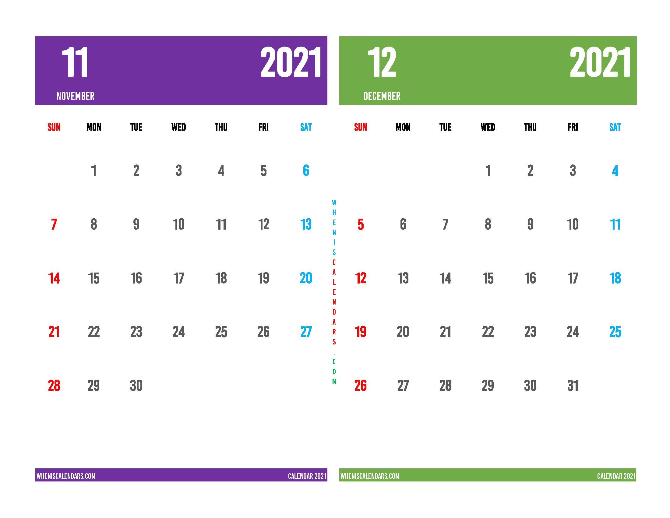 Free November and December 2021 Printable Calendar