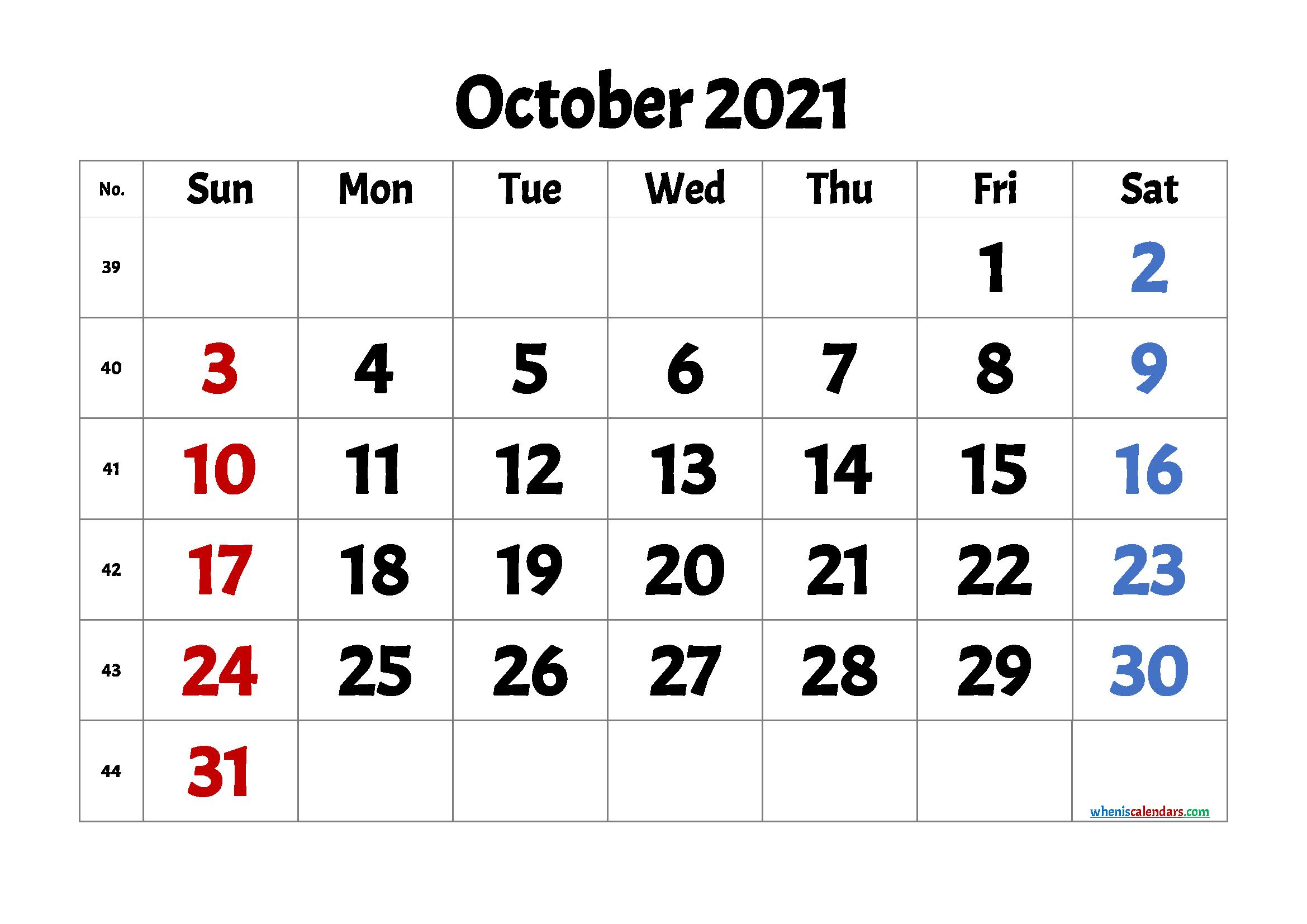 free printable october 2021 with week numbers