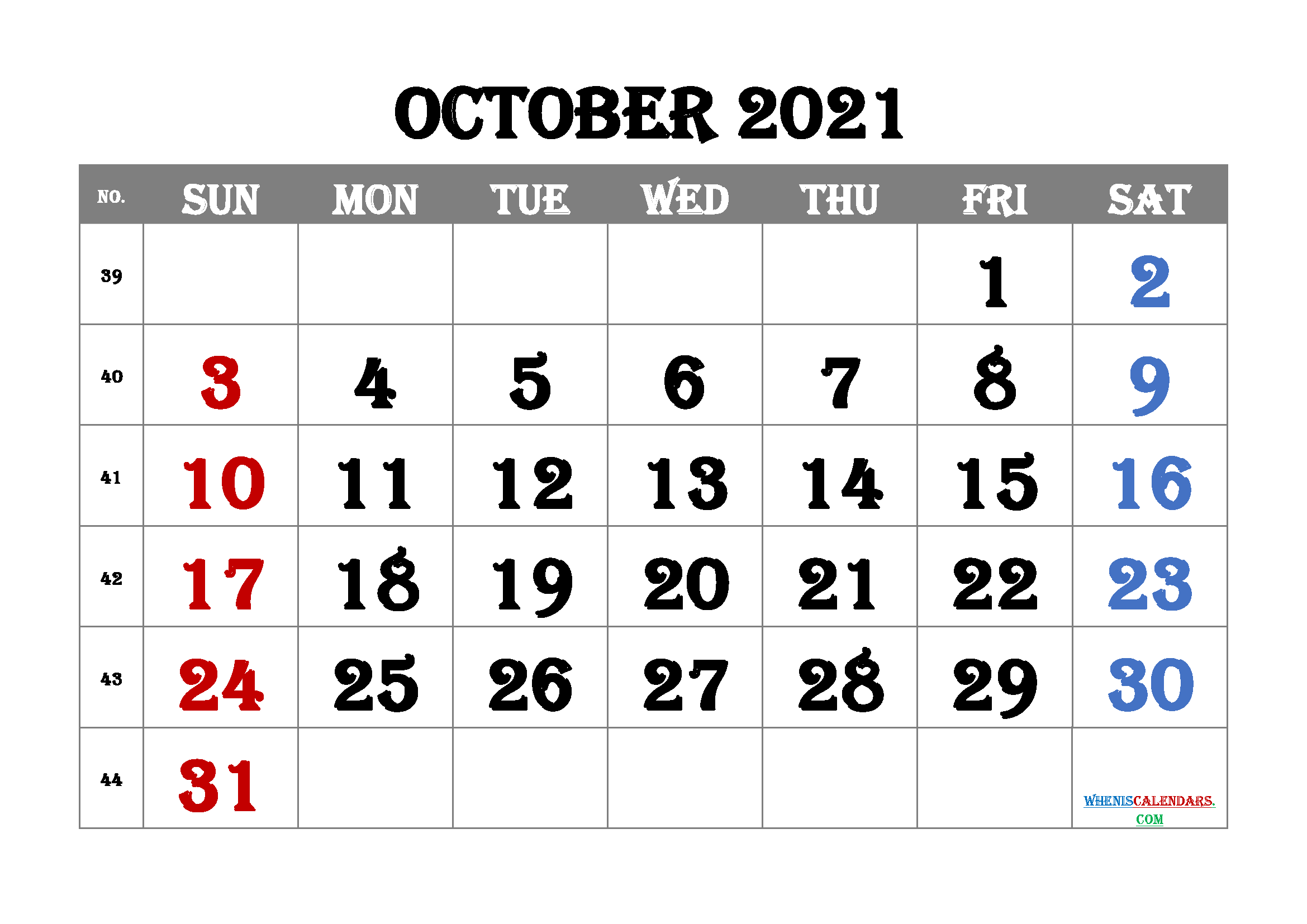 free printable october 2021 with week numbers