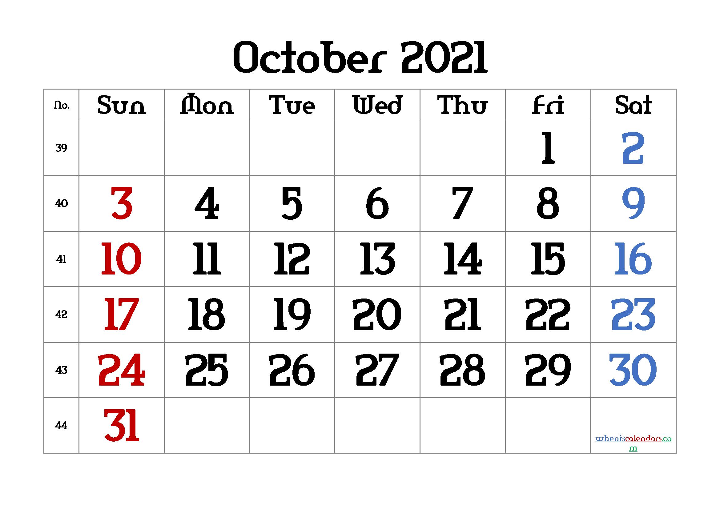 free printable october 2021 calendar with week numbers
