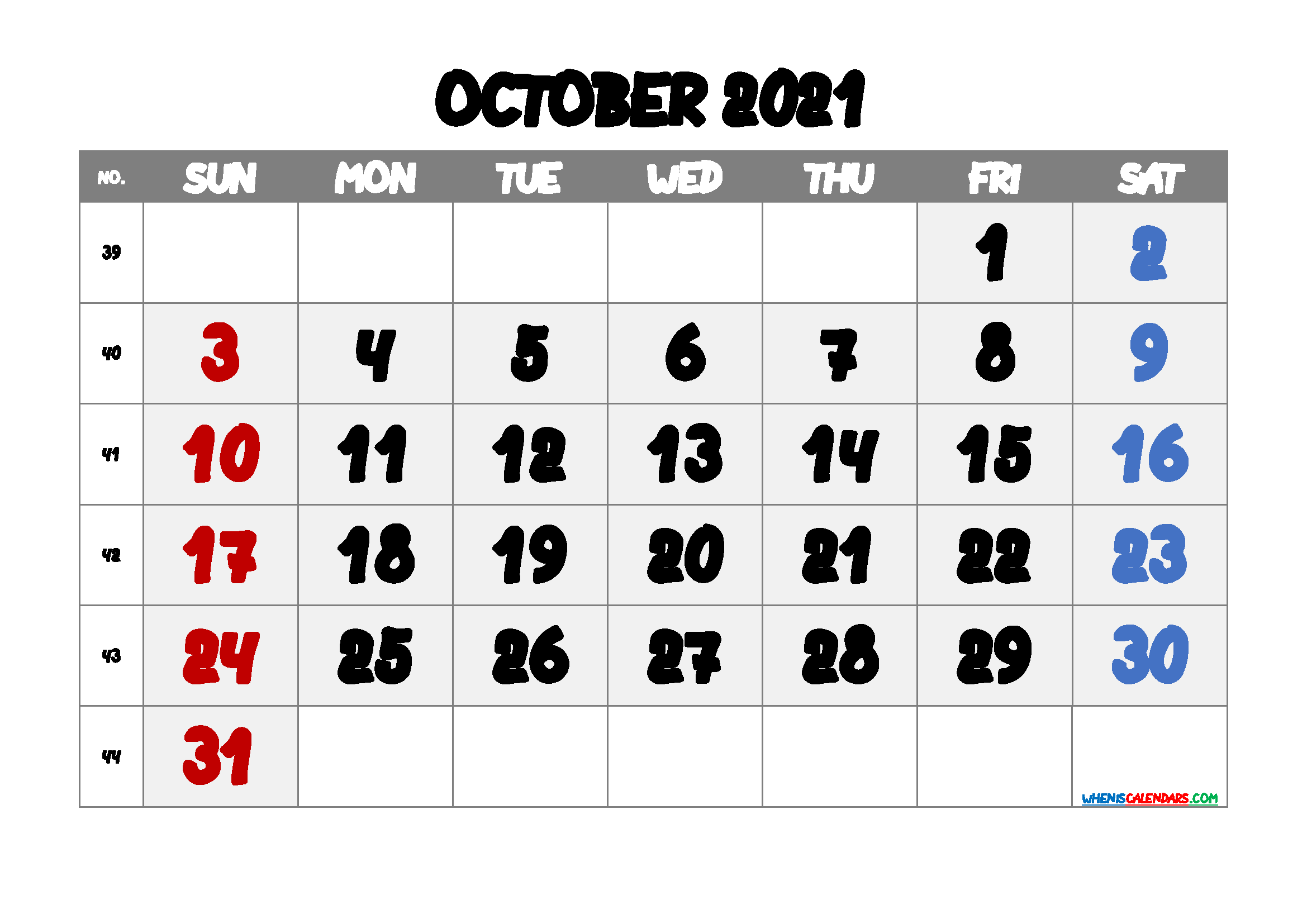free printable october 2021 calendar with week numbers