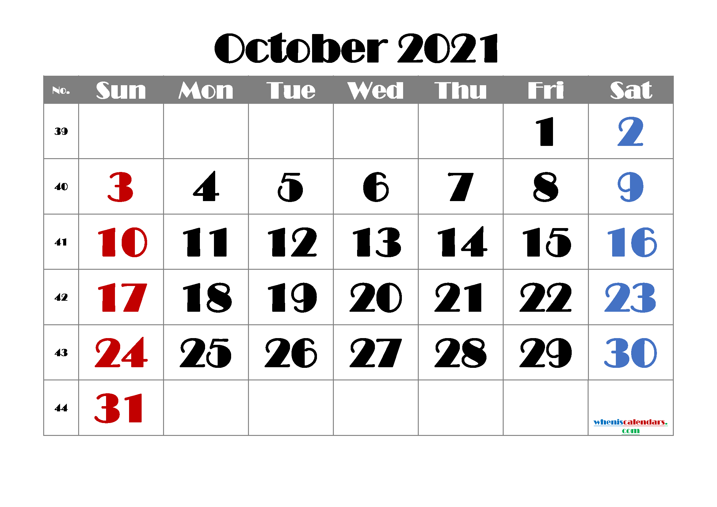 free printable october 2021 calendar with holidays