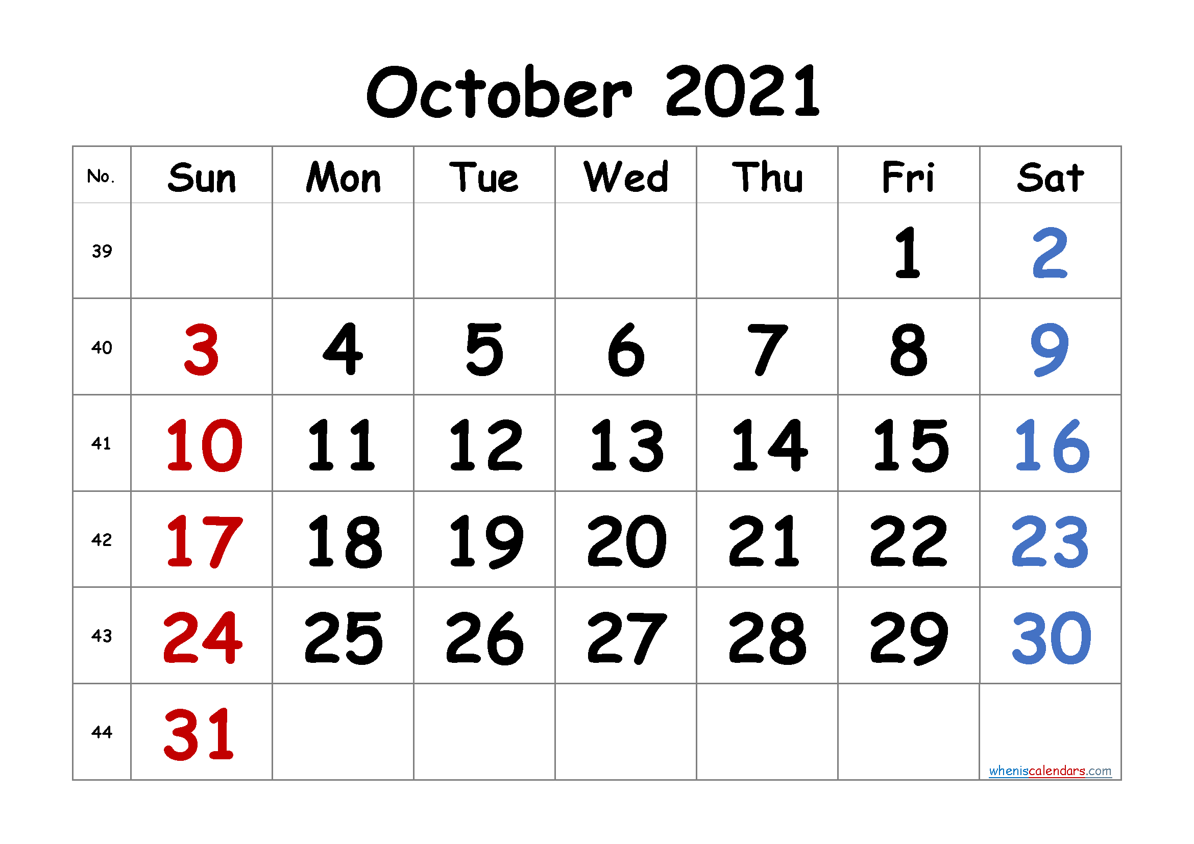 Printable Calendar for October 2021