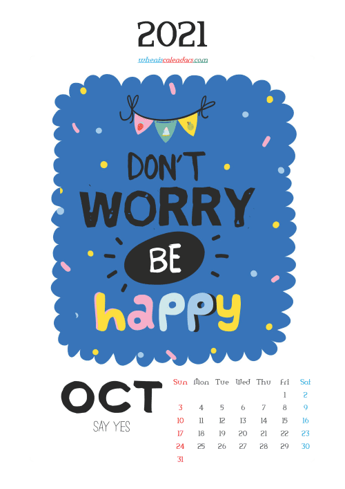 free printable october 2021 calendar cute. awesome free printable 2021 calendar for kids