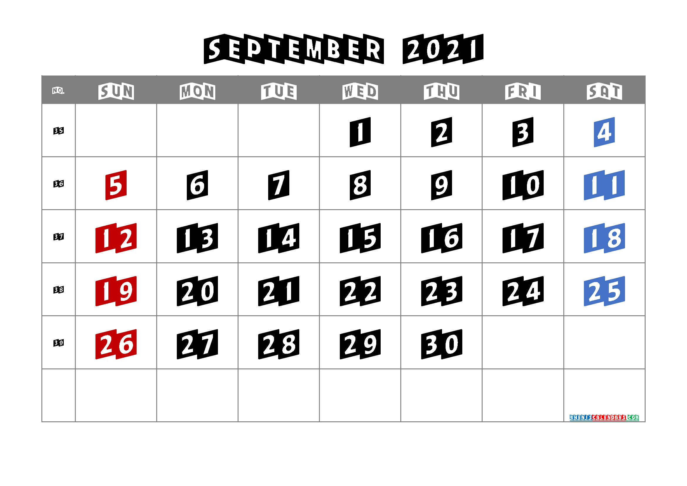 Printable Calendar for September 2021