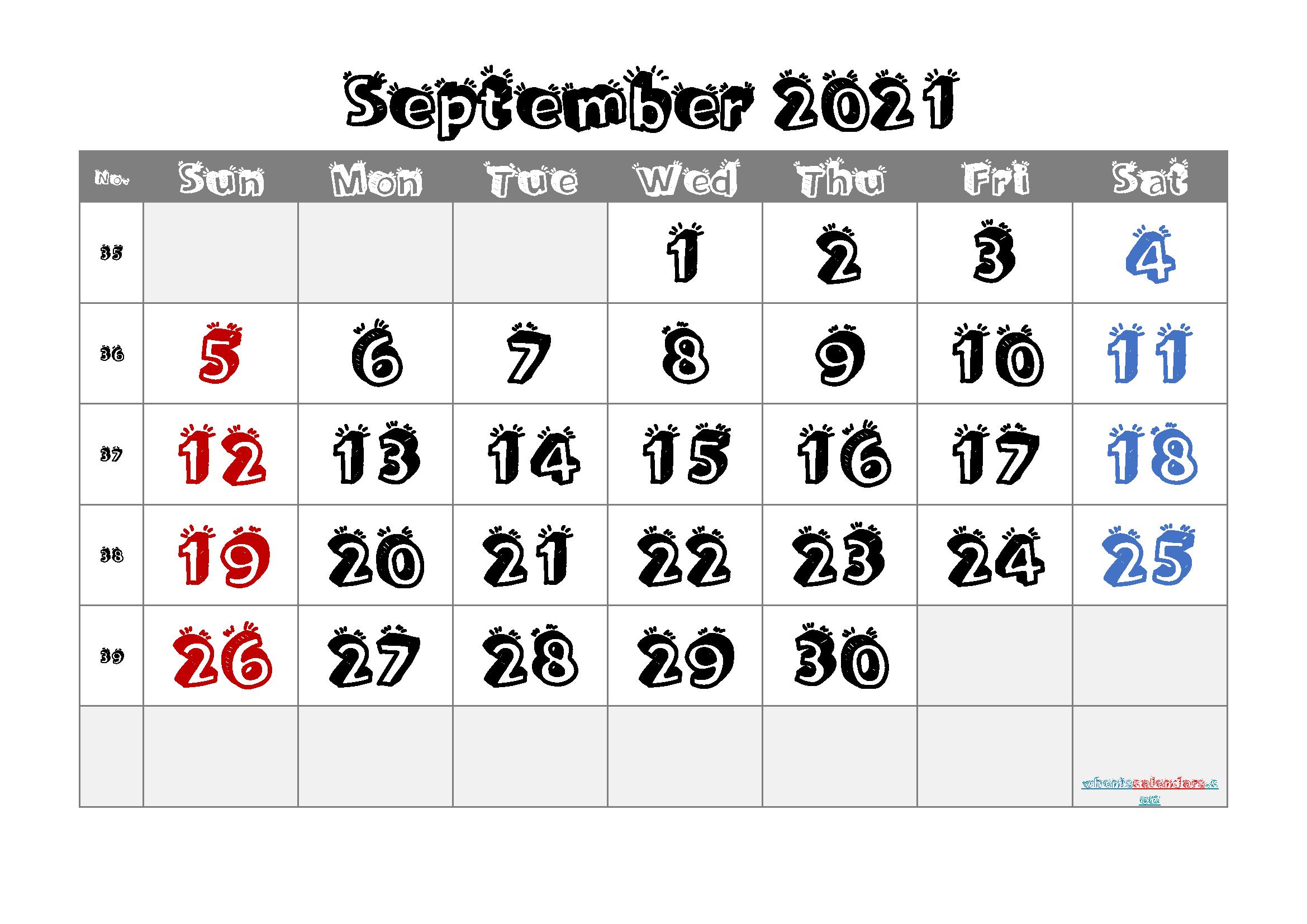 free printable september 2021 calendar with holidays