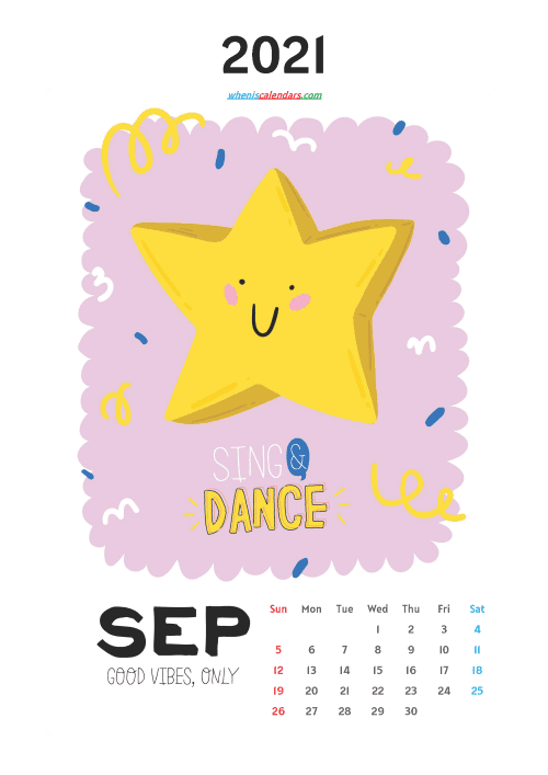 free printable september 2021 calendar cute, awesome free cute printable calendar 2021 for kids