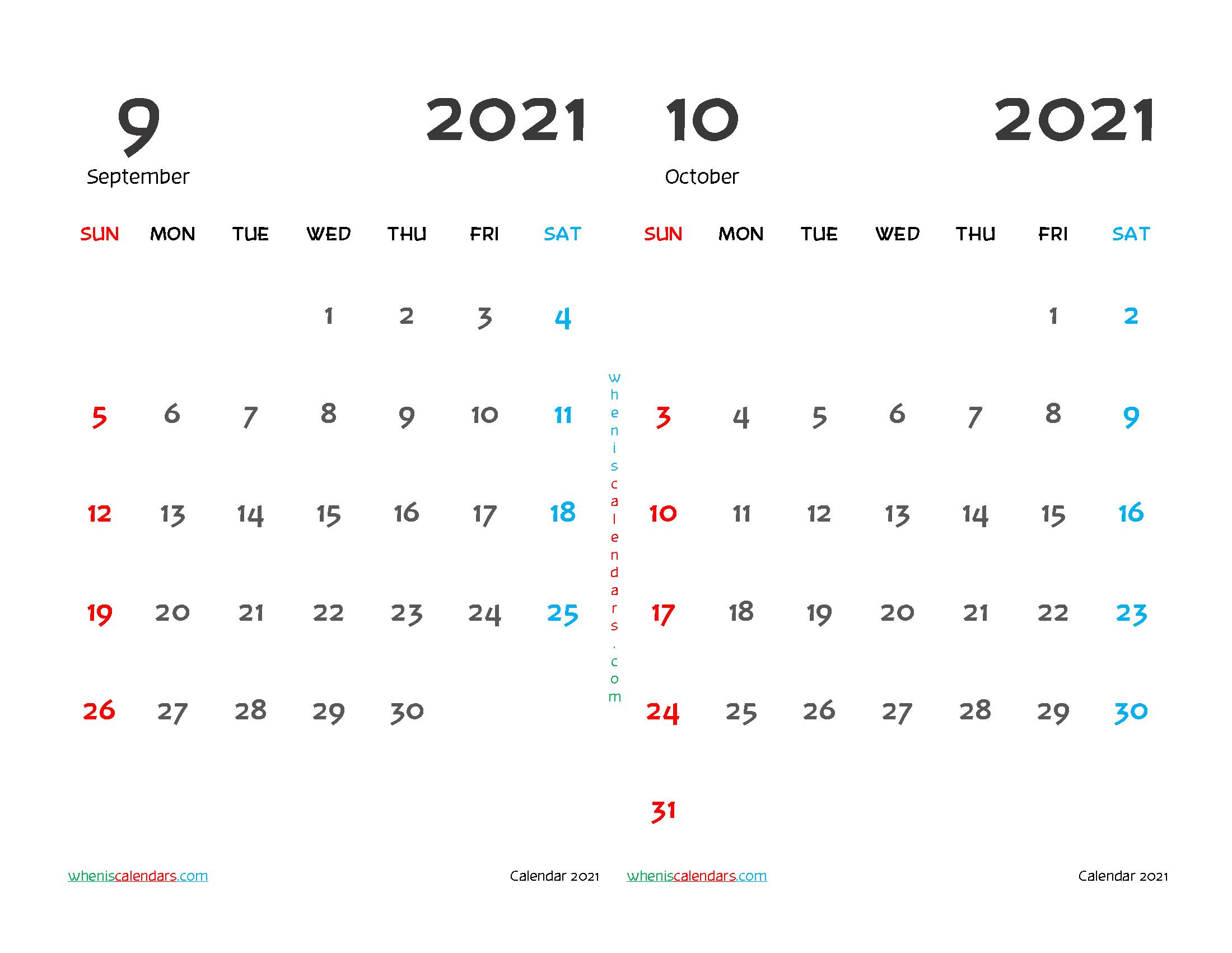 Printable September and October 2021 Calendar