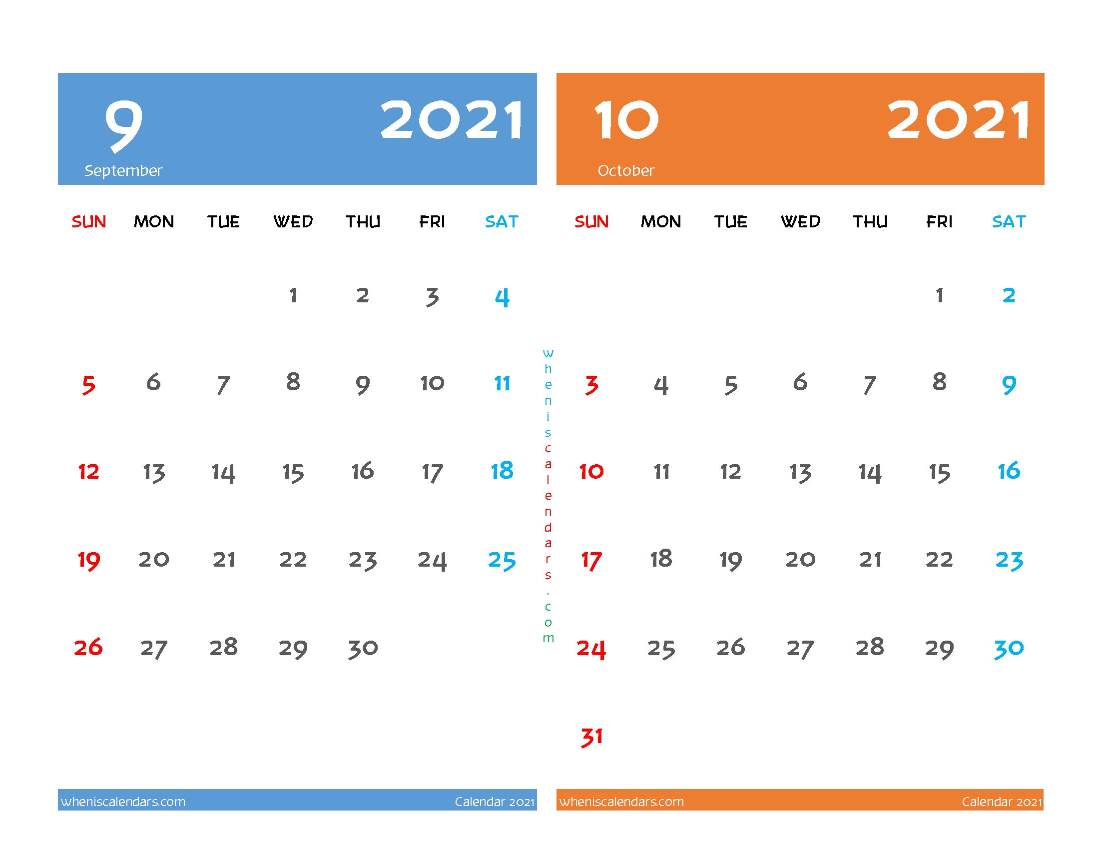 Printable Calendar September and October 2021