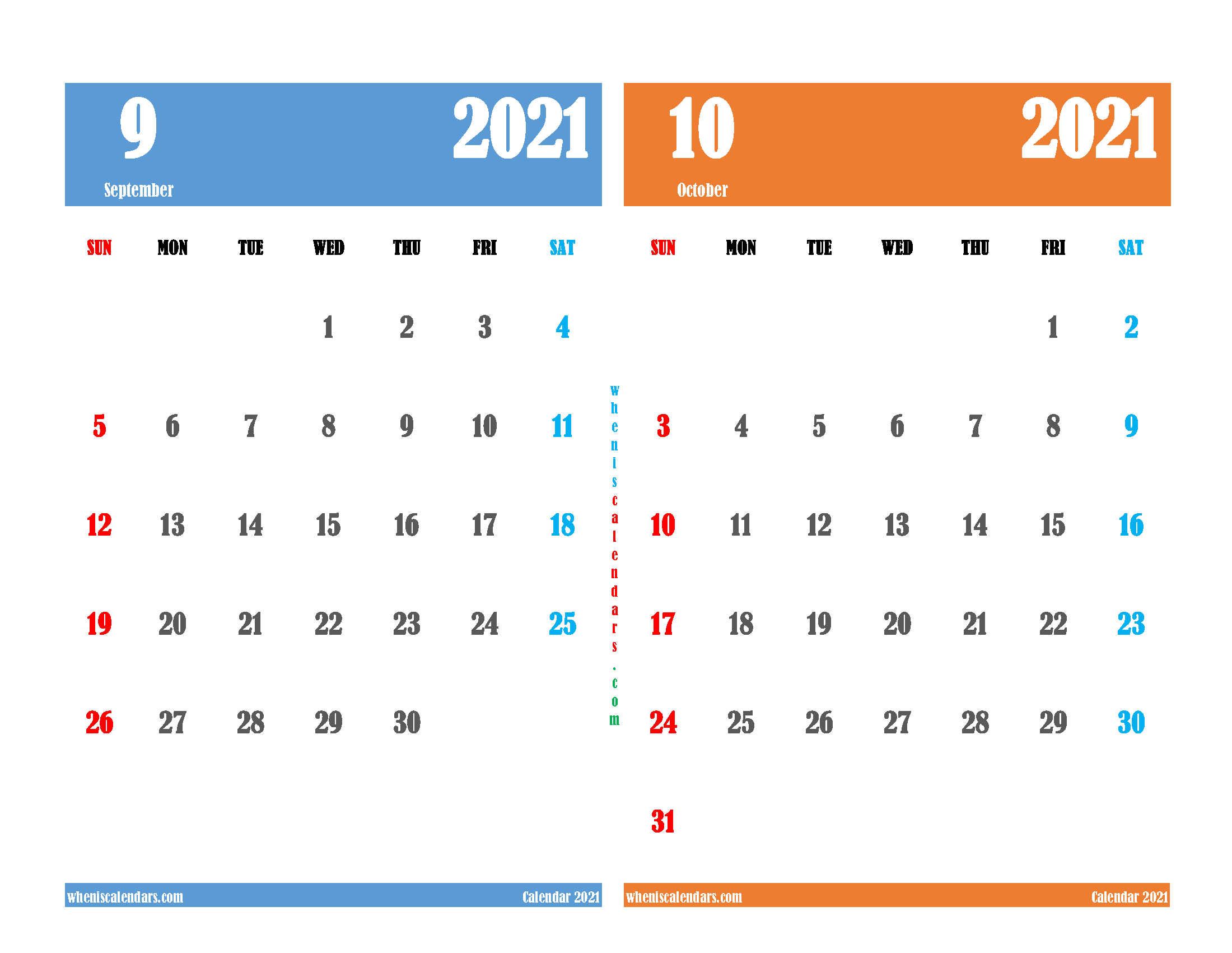 Free September and October 2021 Calendar Printable