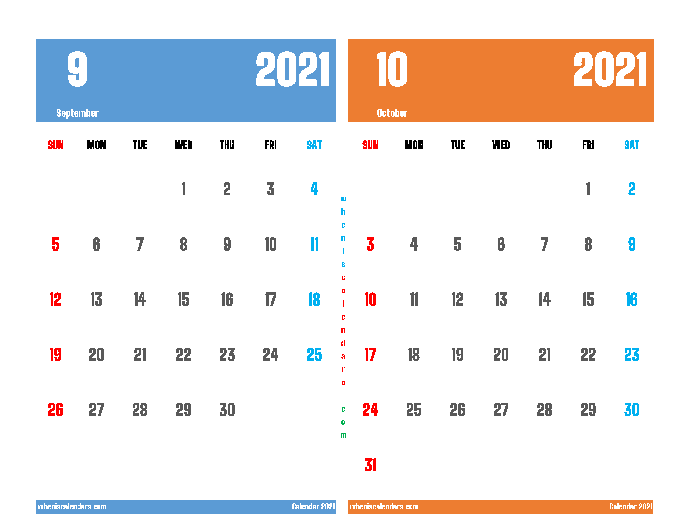 Free September and October 2021 Printable Calendar