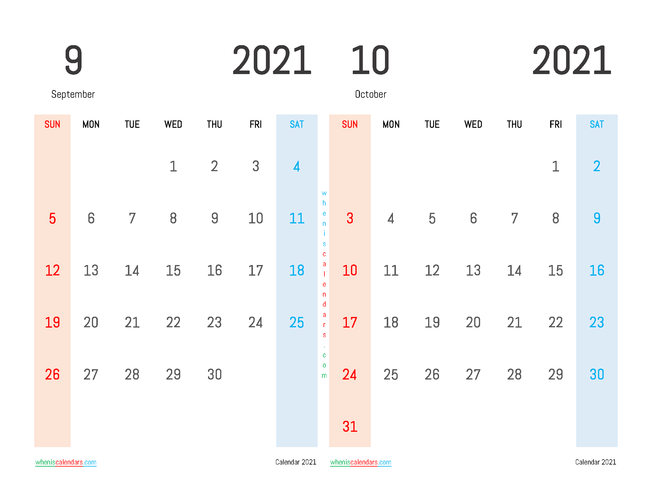 September October 2021 Calendar Printable