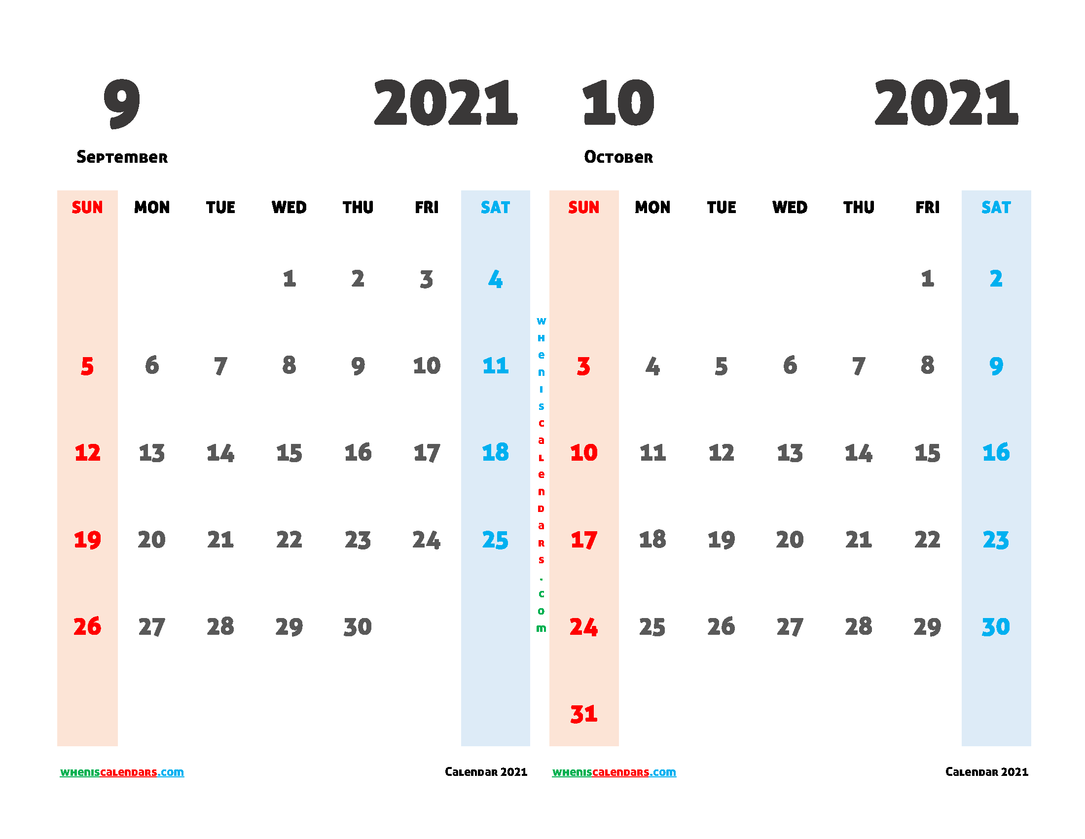 Free September October 2021 Calendar Printable