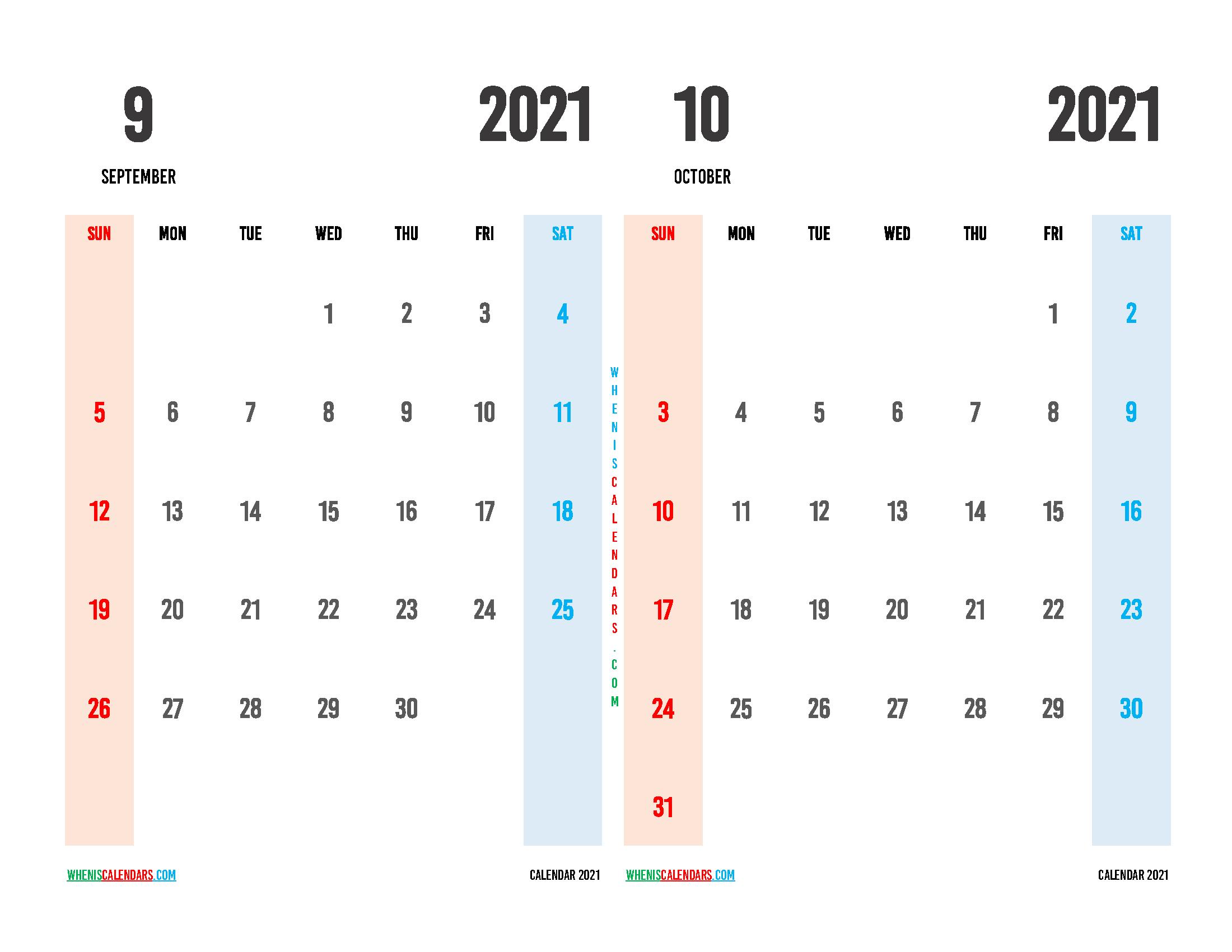 Free September and October 2021 Calendar Printable