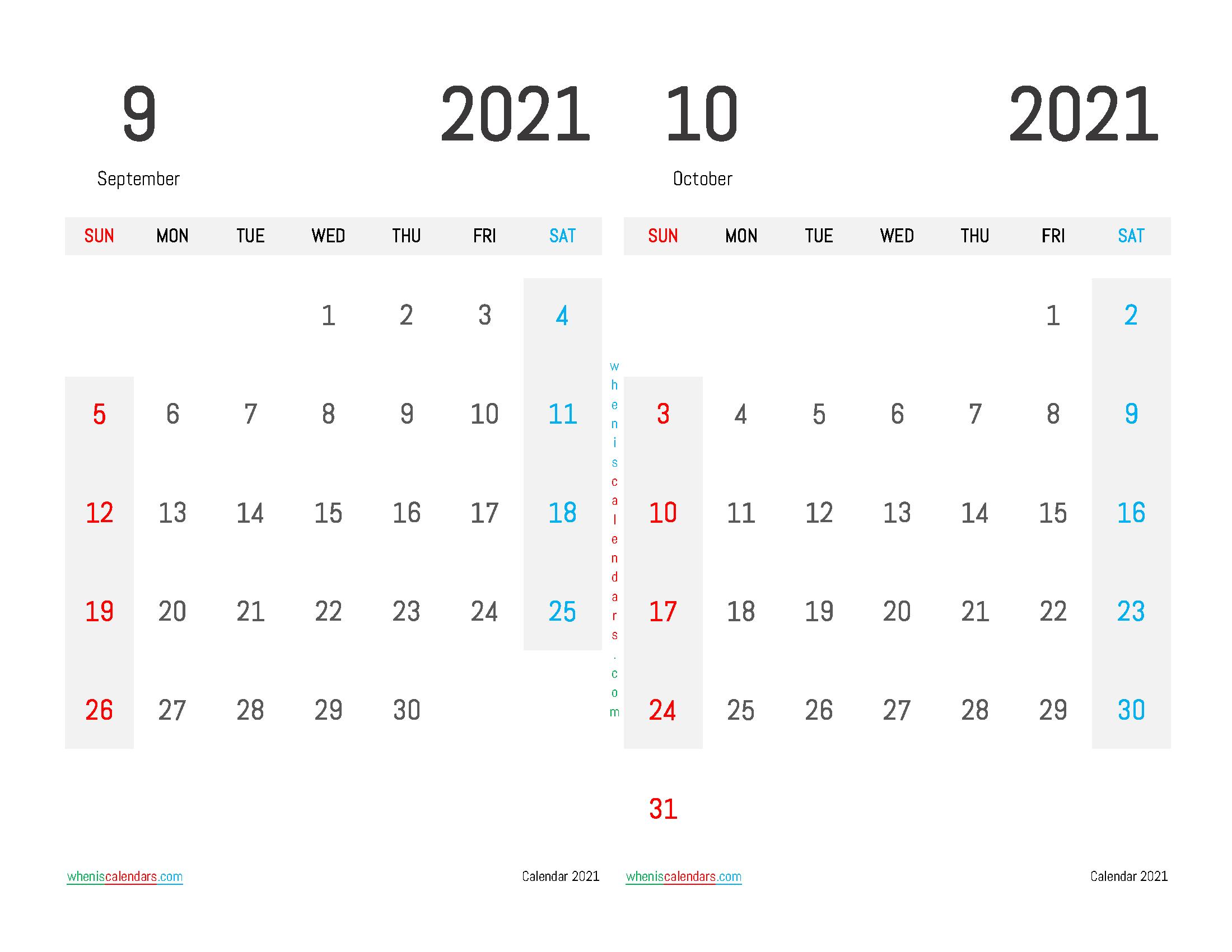 Printable September October 2021 Calendar