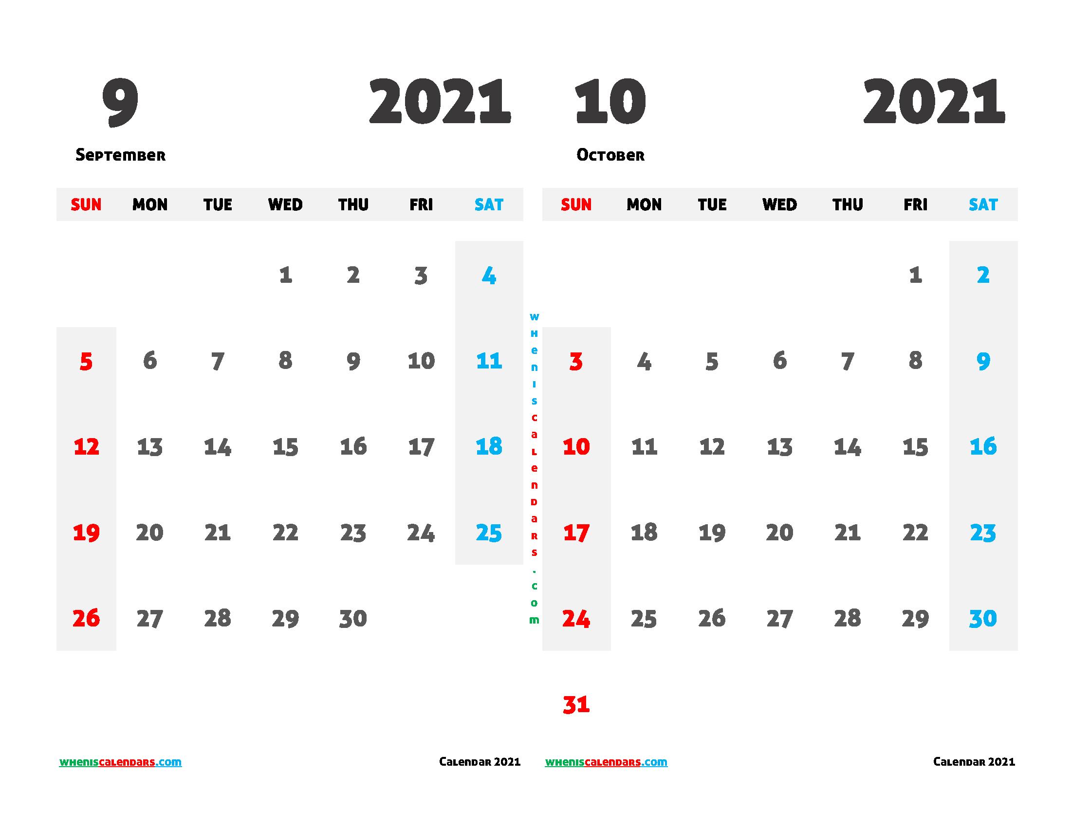 Free September October 2021 Printable Calendar