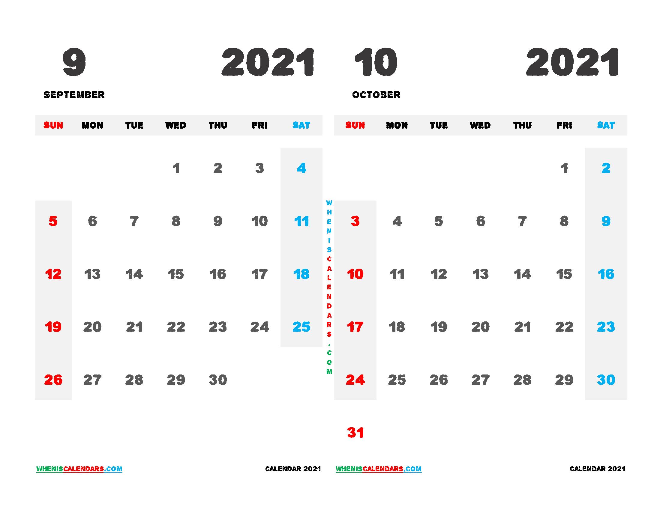 September October 2021 Calendar Printable Free