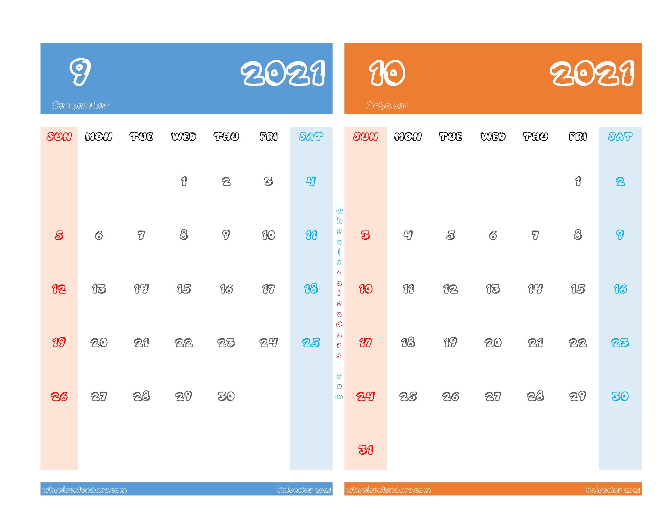 Free September and October 2021 Printable Calendar