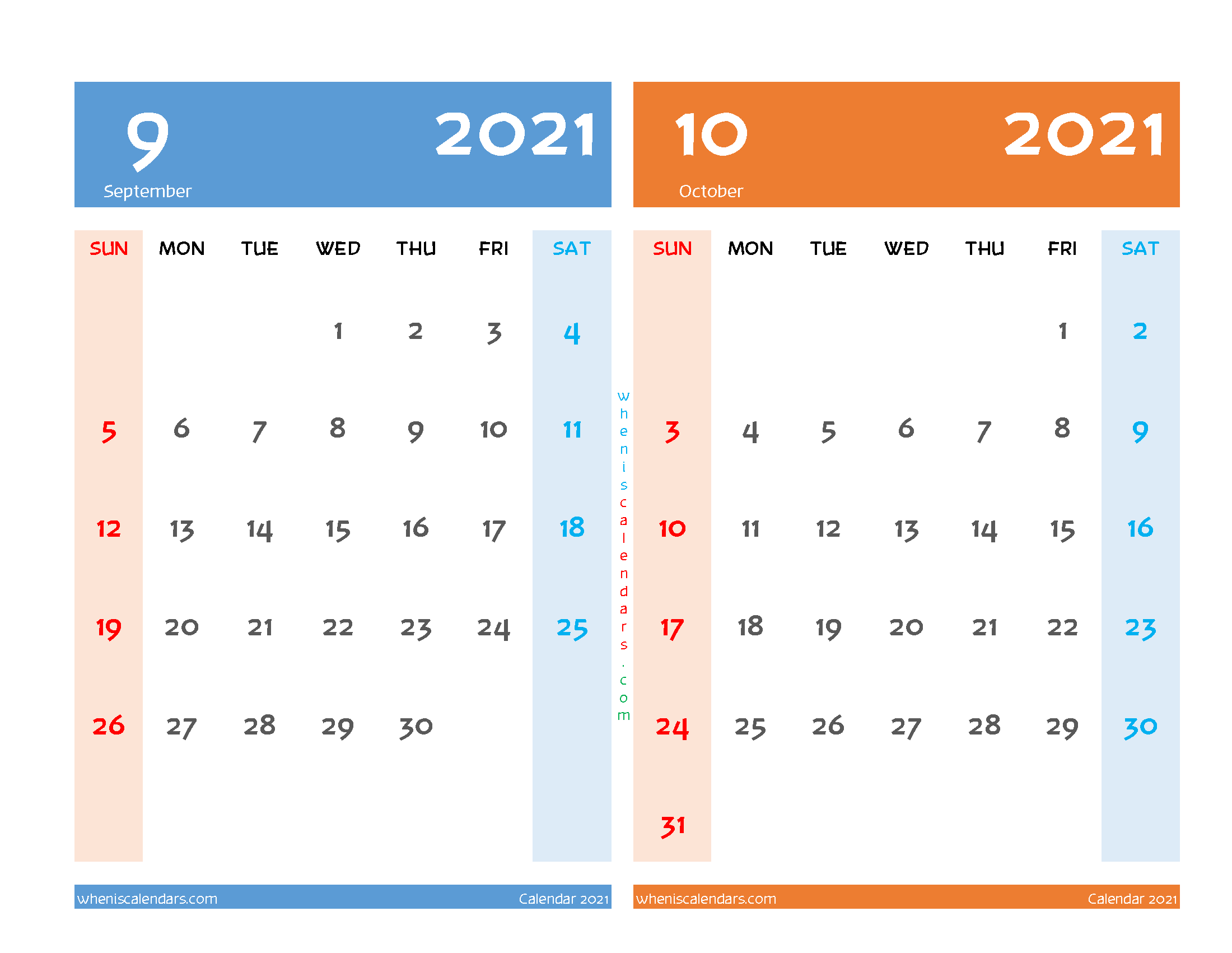 September and October 2021 Calendar Printable Free