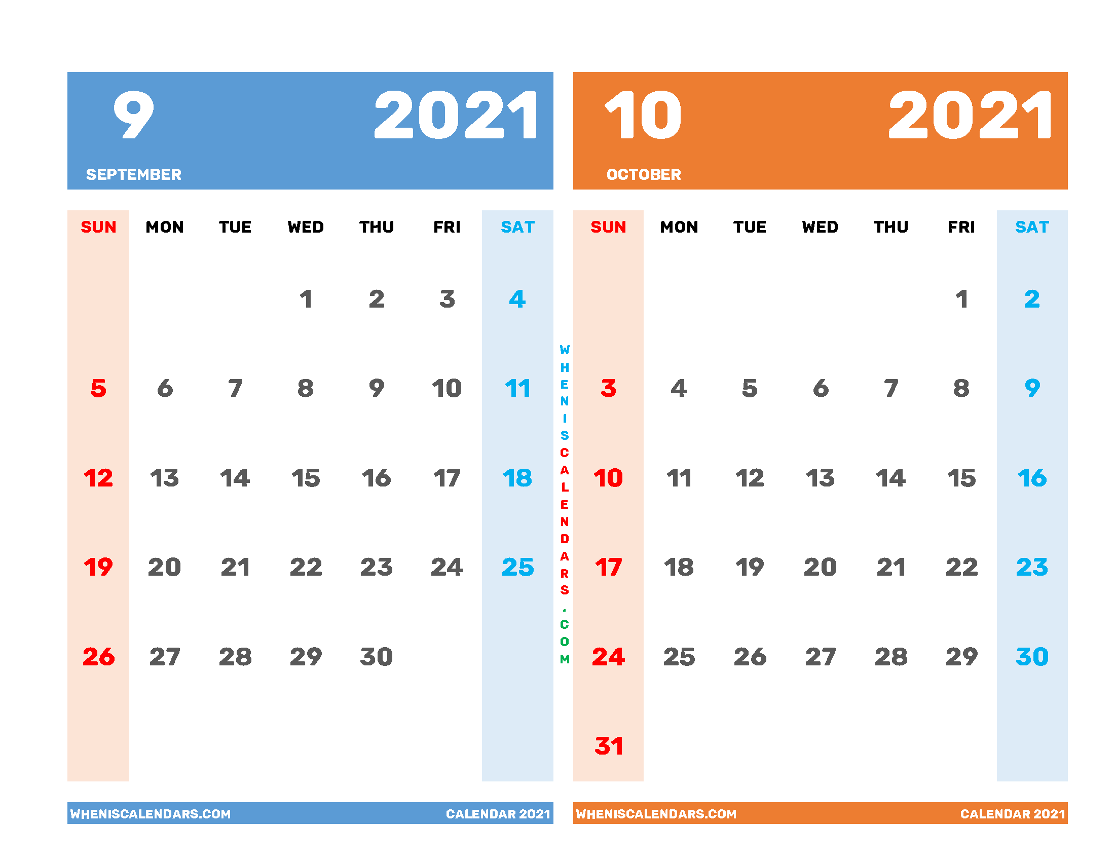 Printable Calendar 2021 September October