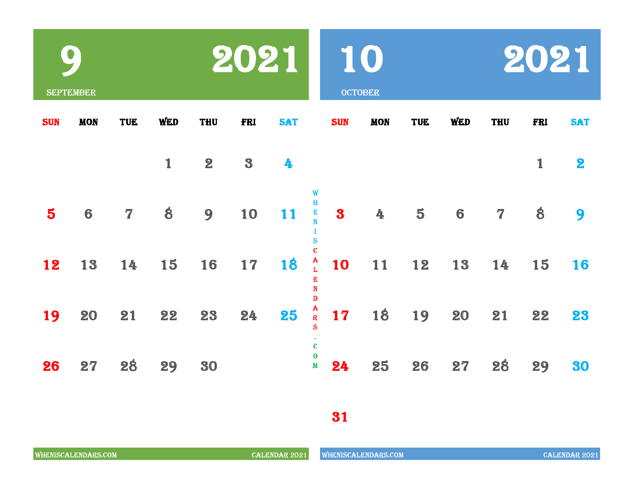 September and October 2021 Calendar Printable