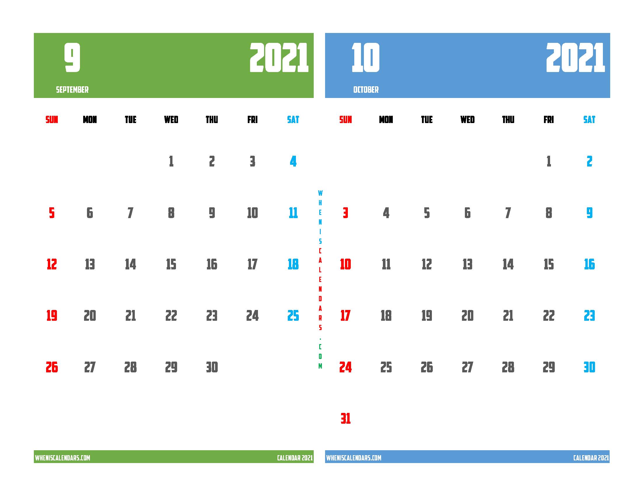 Printable Calendar 2021 September and October