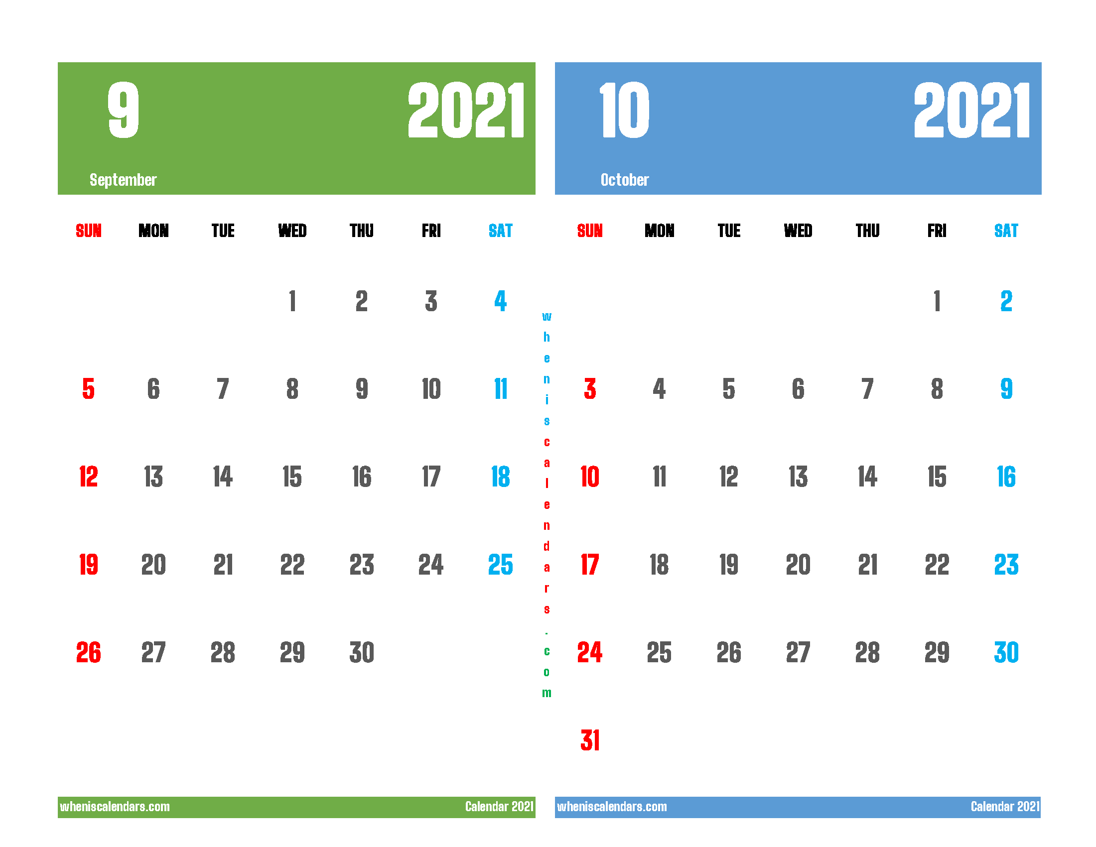 Printable Calendar 2021 September October