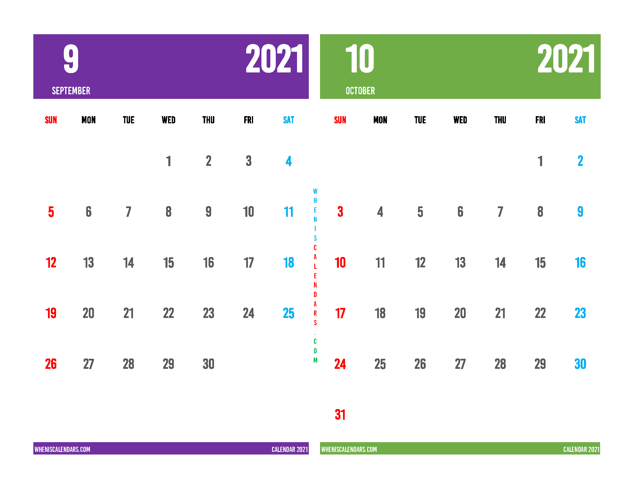 Printable Calendar September October 2021