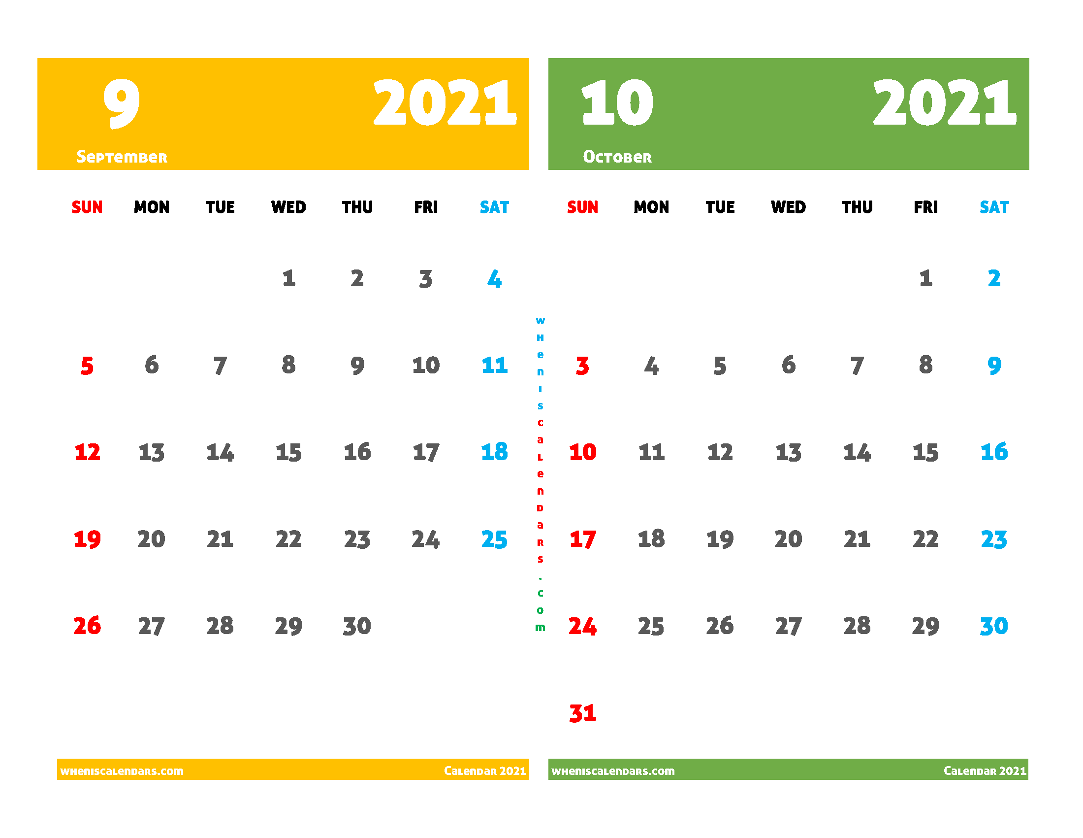 Printable Calendar 2021 September and October