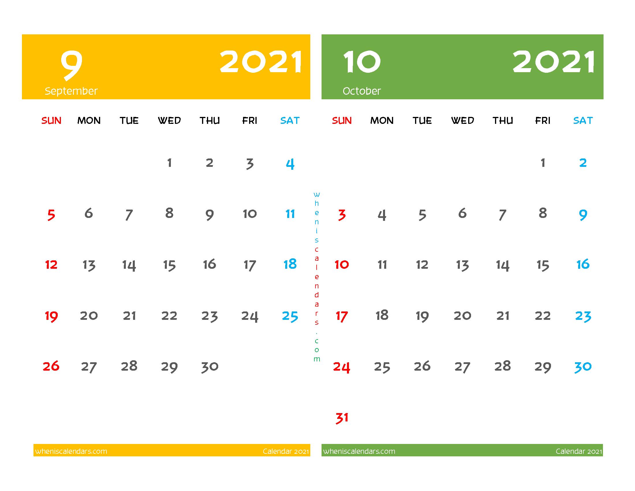 Printable Calendar September October 2021