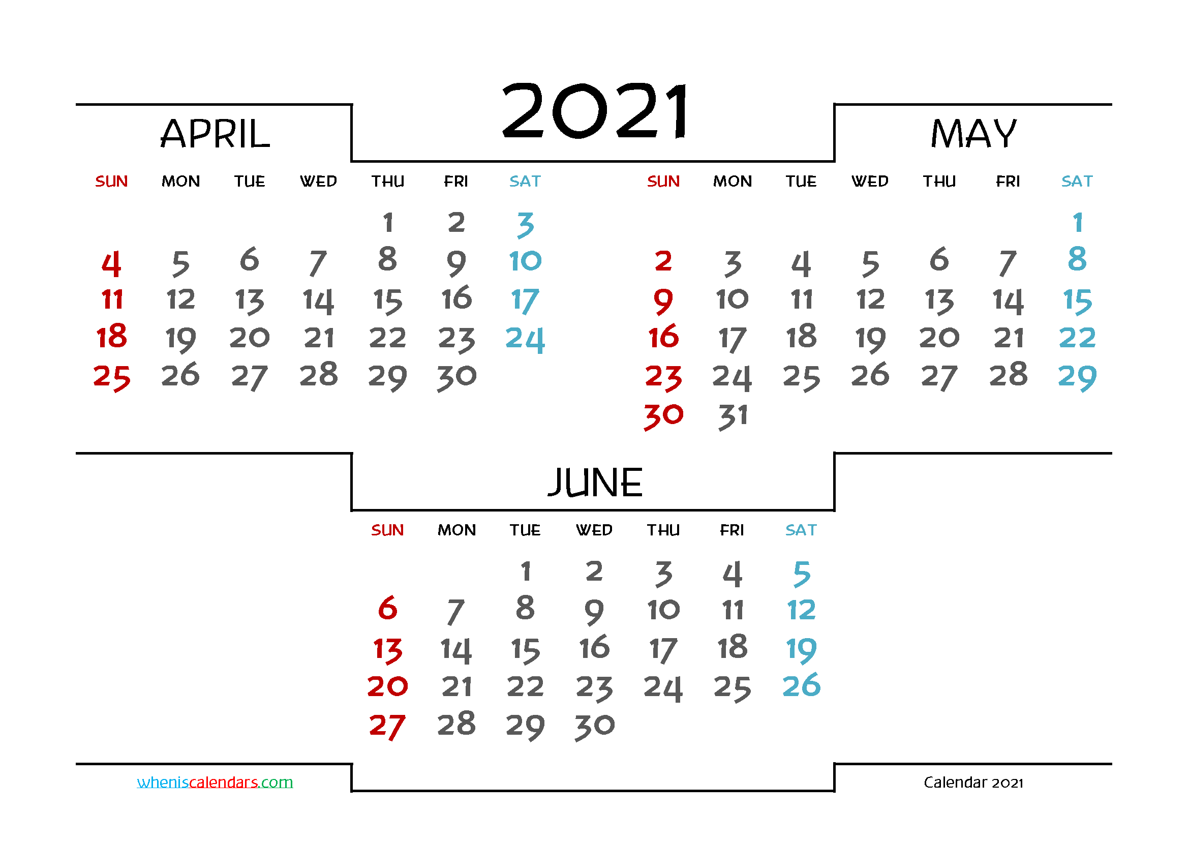 April May June 2021 Calendar printable 3 month calendar on one page