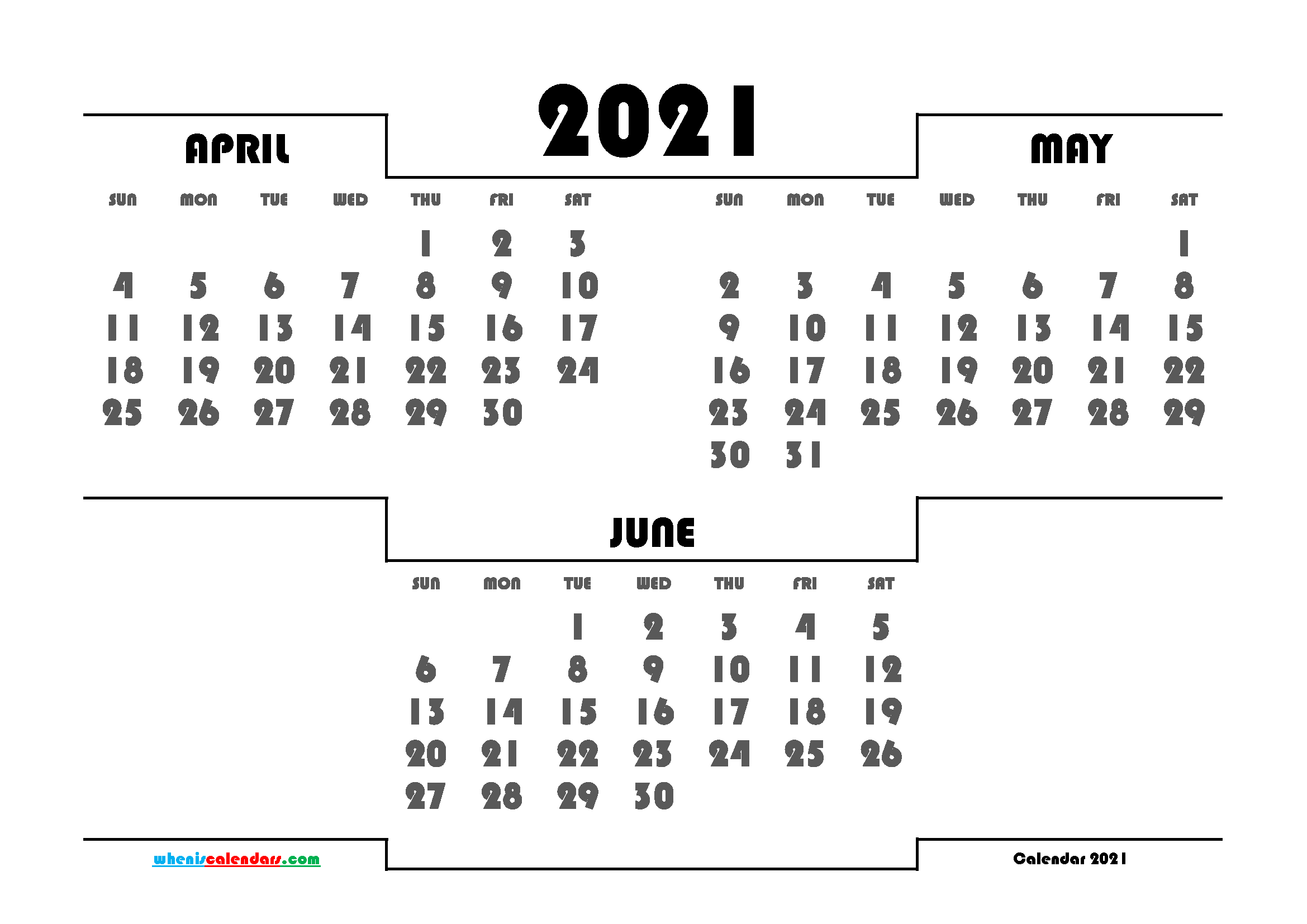 Printable April May June 2021 Calendar